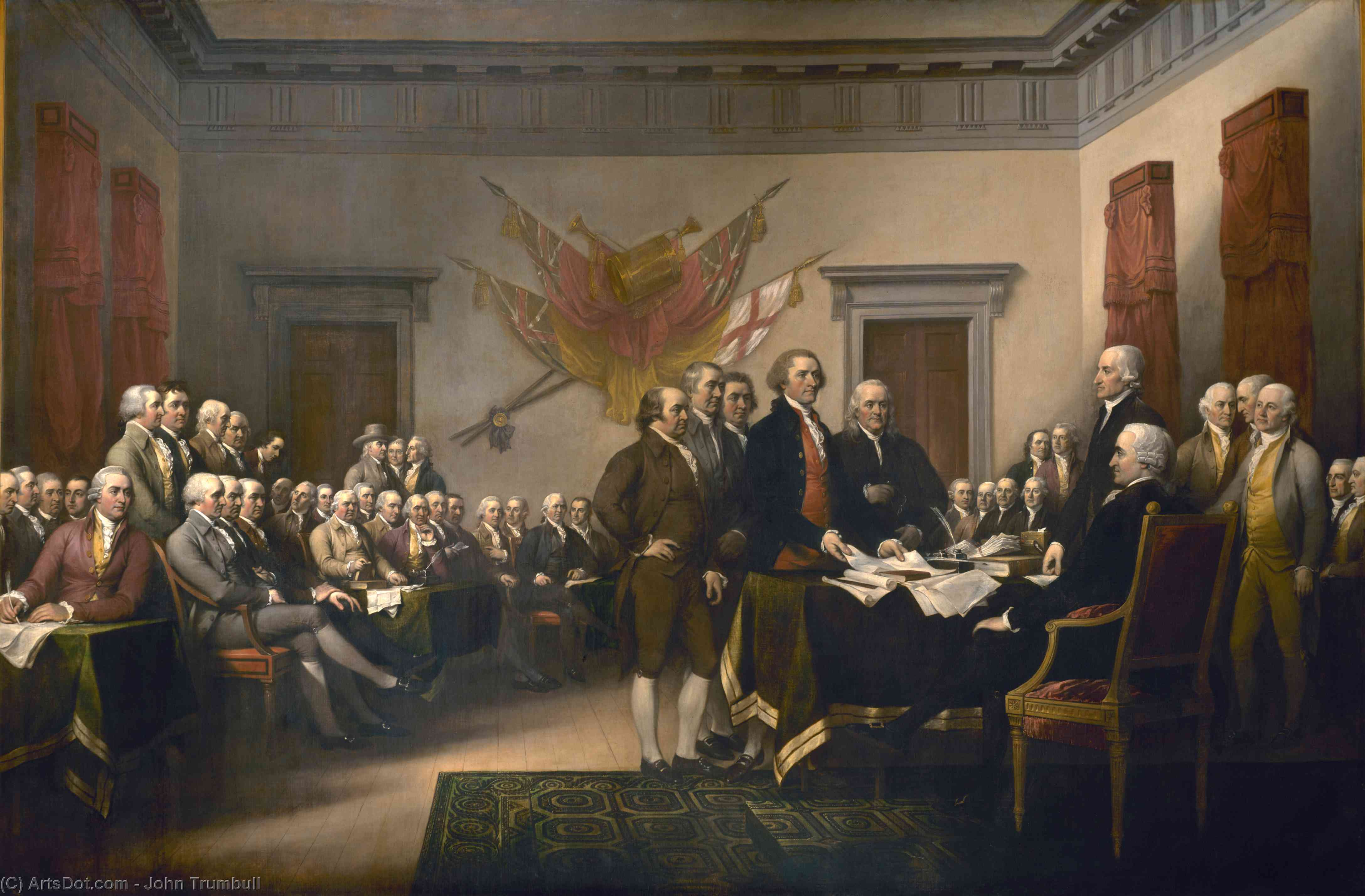 Wikioo.org - The Encyclopedia of Fine Arts - Painting, Artwork by John Trumbull - Declaration of Independence
