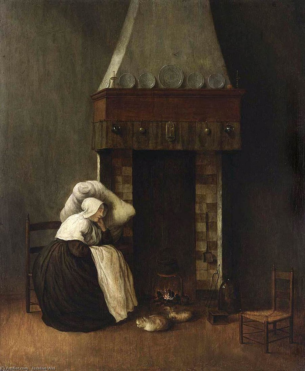 Wikioo.org - The Encyclopedia of Fine Arts - Painting, Artwork by Jacobus Vrel - Sleeping Woman (The Convalescent)