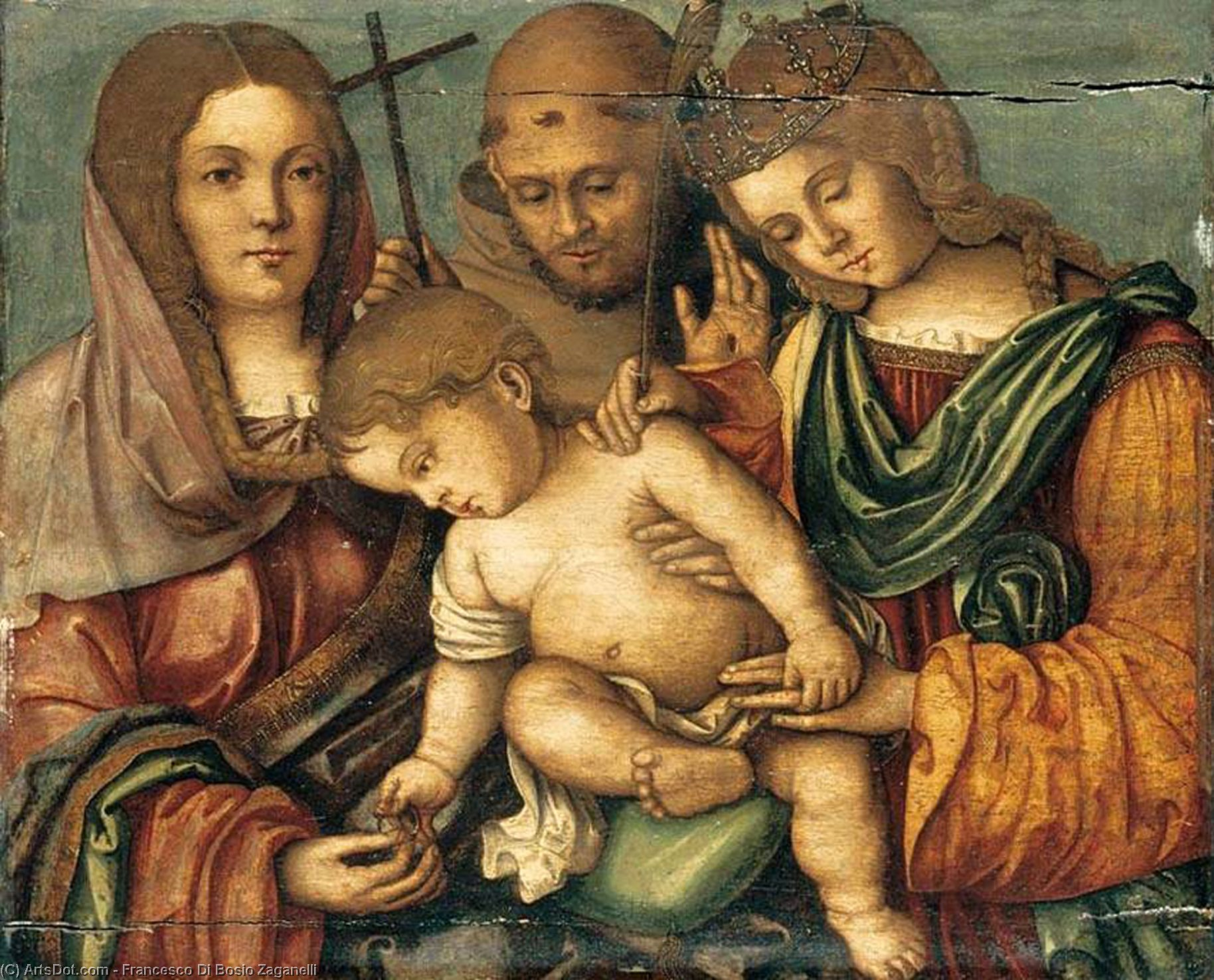Wikioo.org - The Encyclopedia of Fine Arts - Painting, Artwork by Francesco Di Bosio Zaganelli - The Christ Child between Sts Catherine, Francis and Elizabeth of Hungary