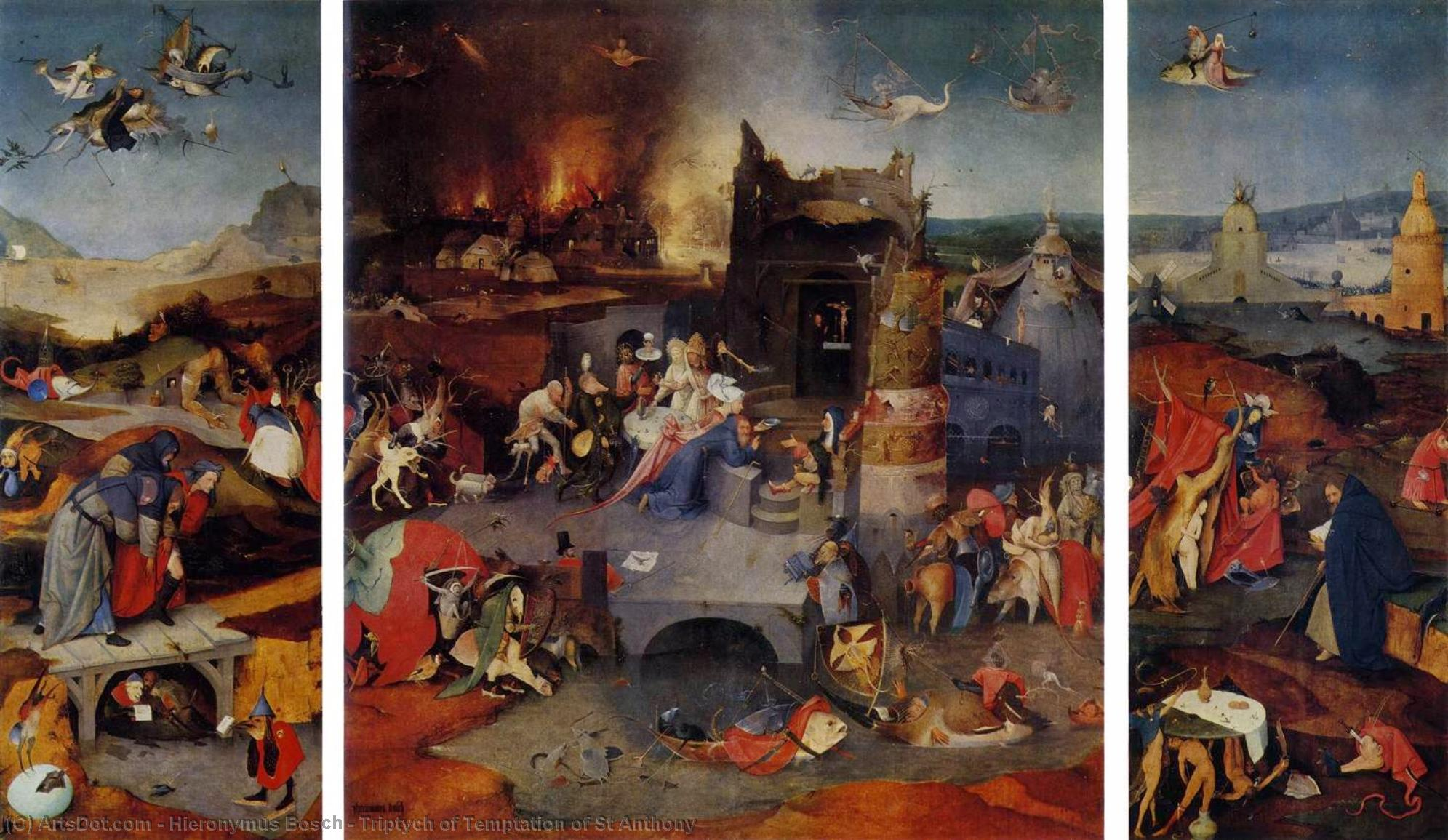 Wikioo.org - The Encyclopedia of Fine Arts - Painting, Artwork by Hieronymus Bosch - Triptych of Temptation of St Anthony
