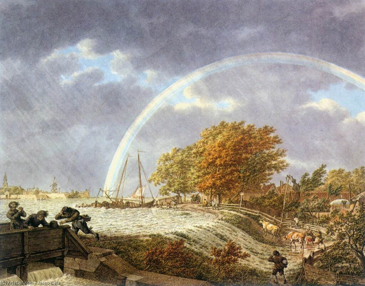 Wikioo.org - The Encyclopedia of Fine Arts - Painting, Artwork by Jacob Cats - Autumn Landscape with Rainbow