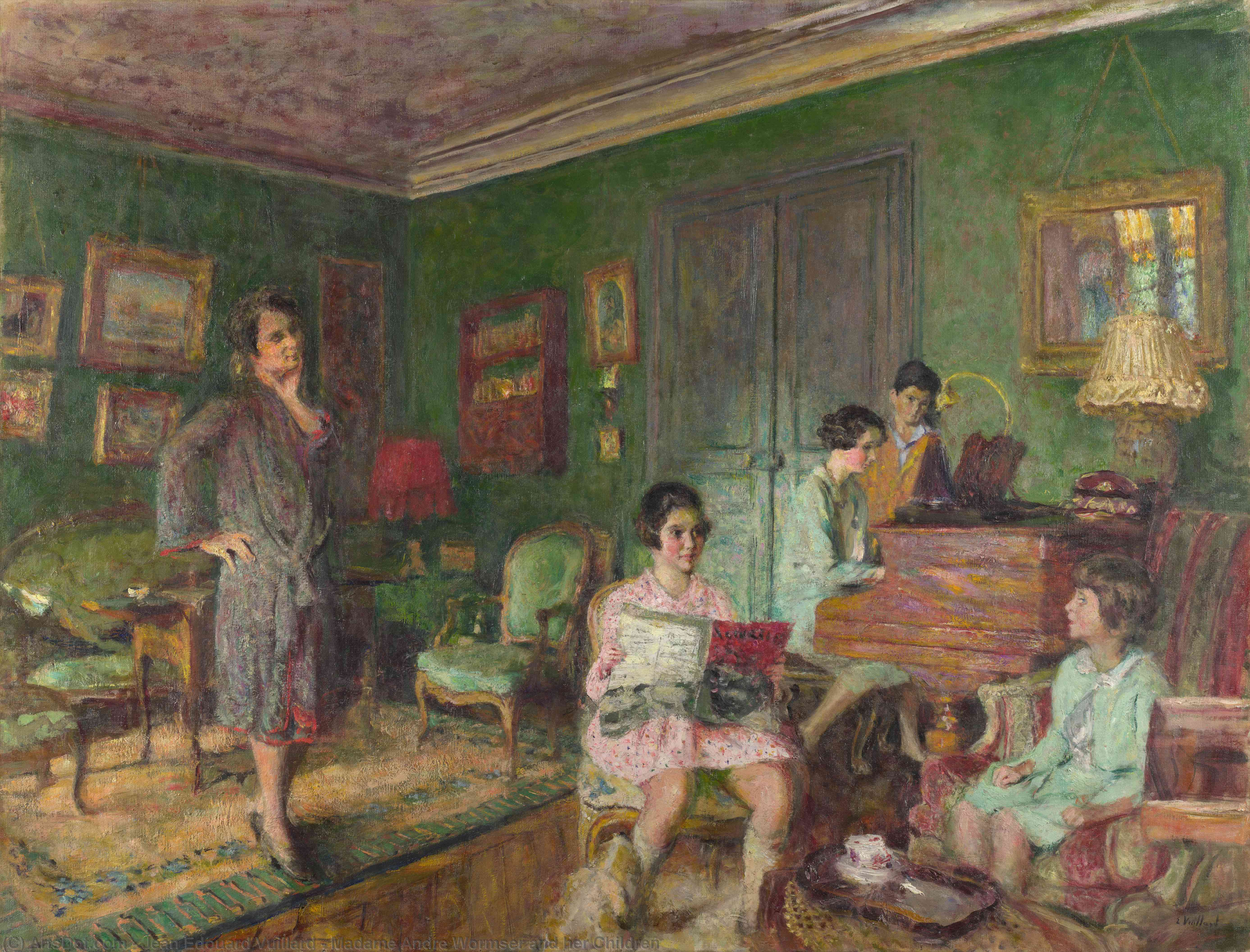Wikioo.org - The Encyclopedia of Fine Arts - Painting, Artwork by Jean Edouard Vuillard - Madame Andre Wormser and her Children