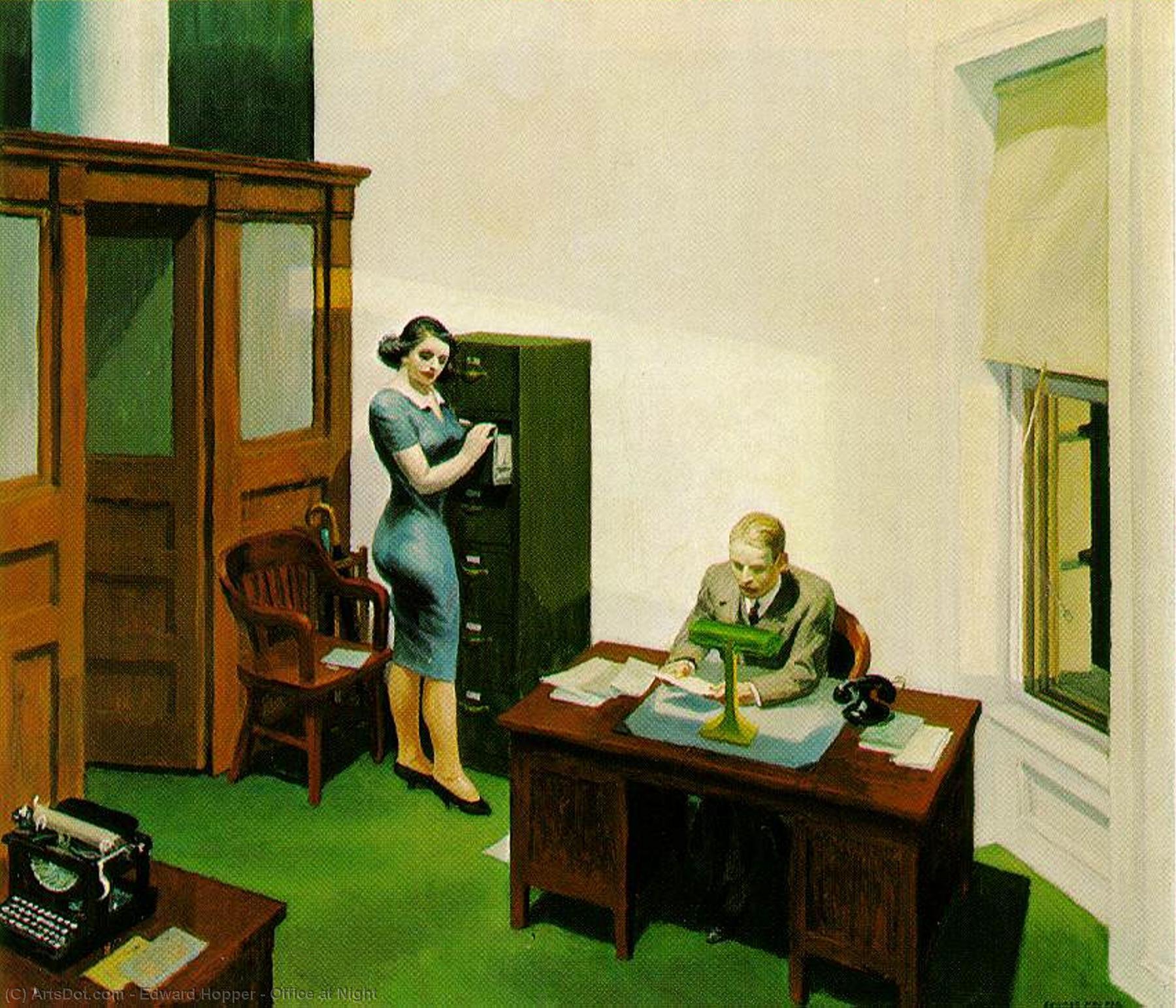 WikiOO.org - Enciclopédia das Belas Artes - Pintura, Arte por Edward Hopper - Office at Night