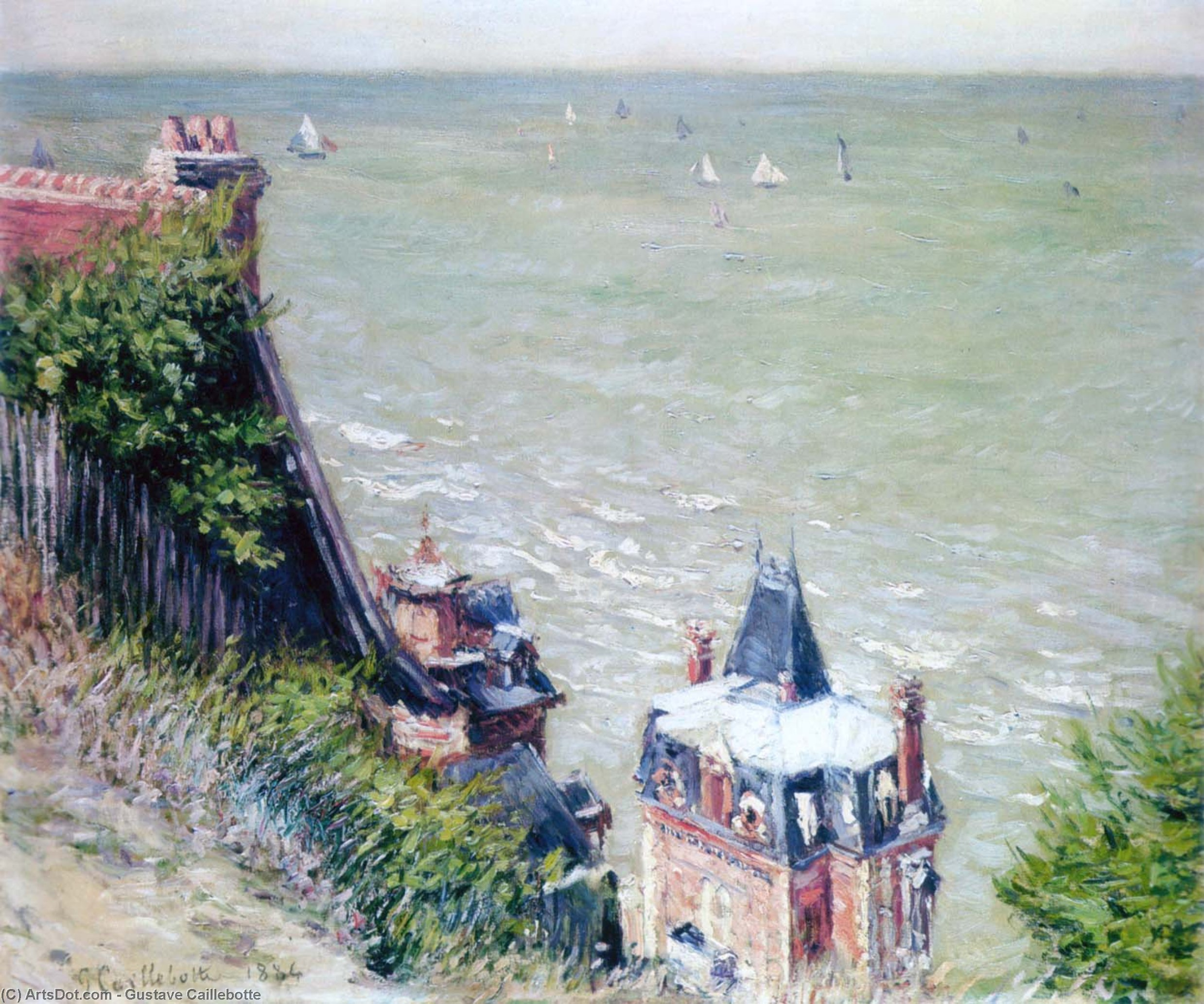 Wikioo.org - The Encyclopedia of Fine Arts - Painting, Artwork by Gustave Caillebotte - Pink Villas at Trouville