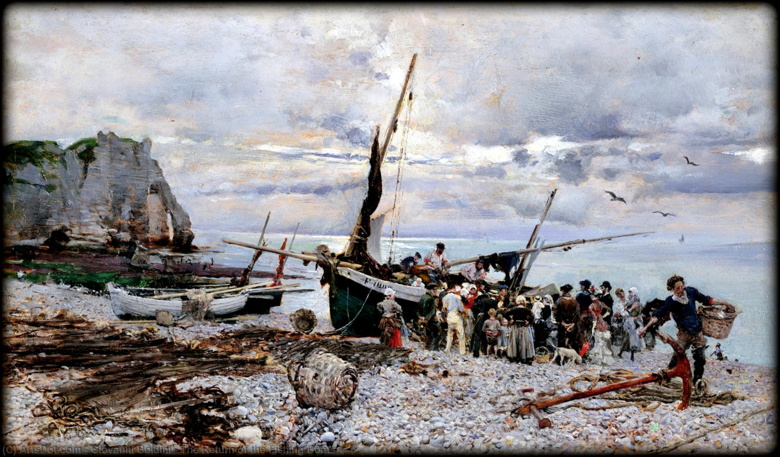 Wikioo.org - The Encyclopedia of Fine Arts - Painting, Artwork by Giovanni Boldini - The Return of the Fishing Boats