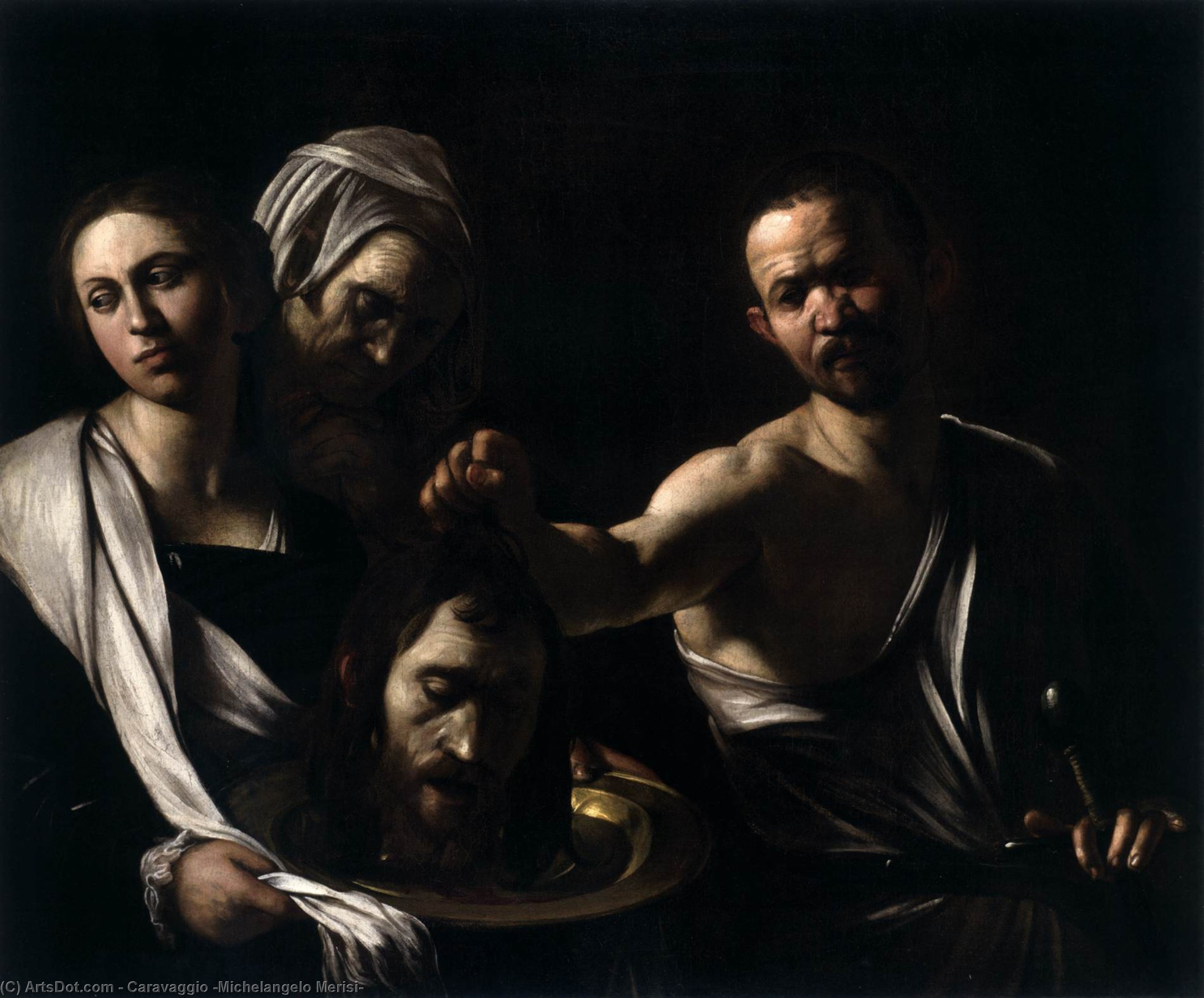 Wikioo.org - The Encyclopedia of Fine Arts - Painting, Artwork by Caravaggio (Michelangelo Merisi) - Salome with the Head of St. John the Baptist