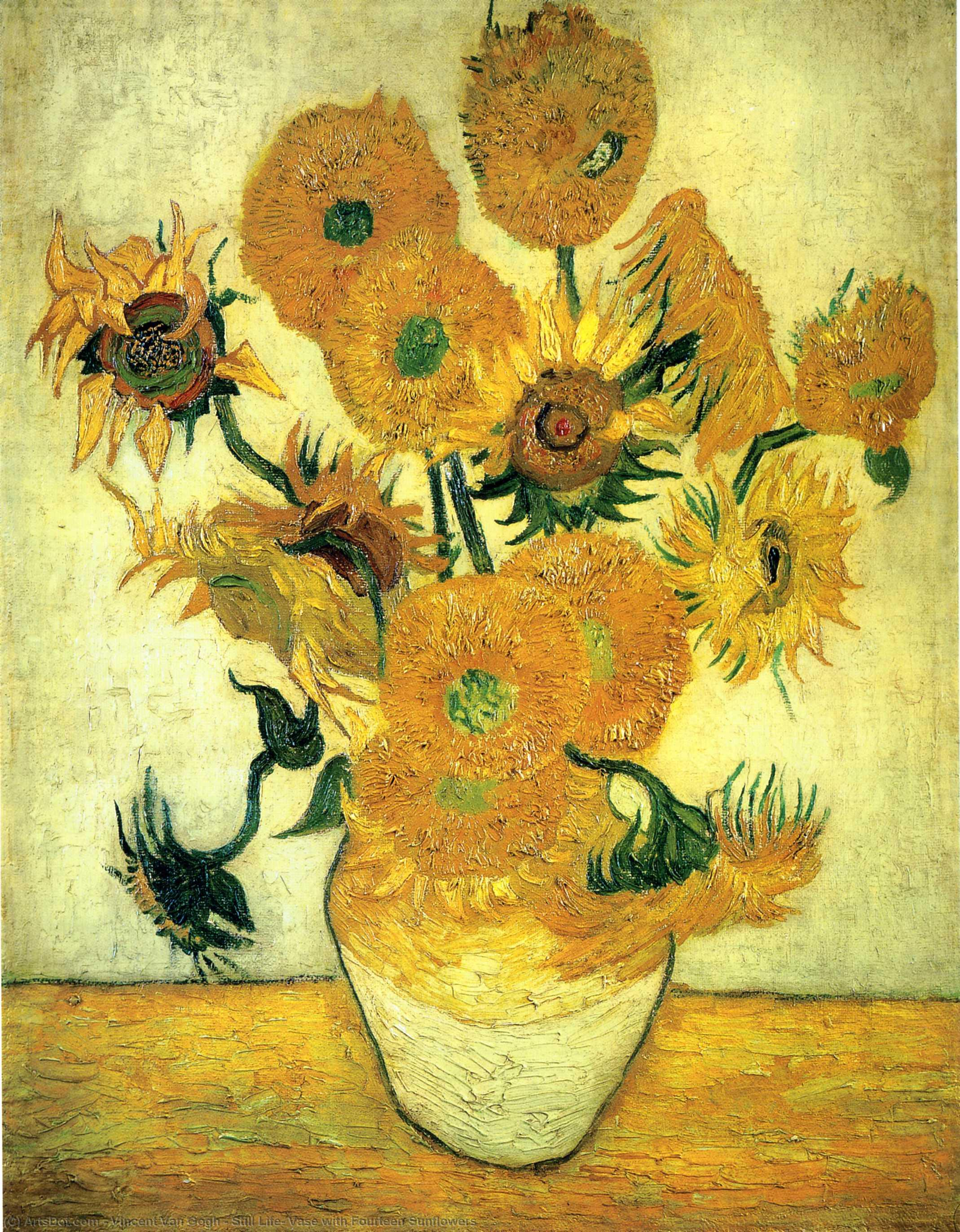 Wikioo.org - The Encyclopedia of Fine Arts - Painting, Artwork by Vincent Van Gogh - Still Life: Vase with Fourteen Sunflowers