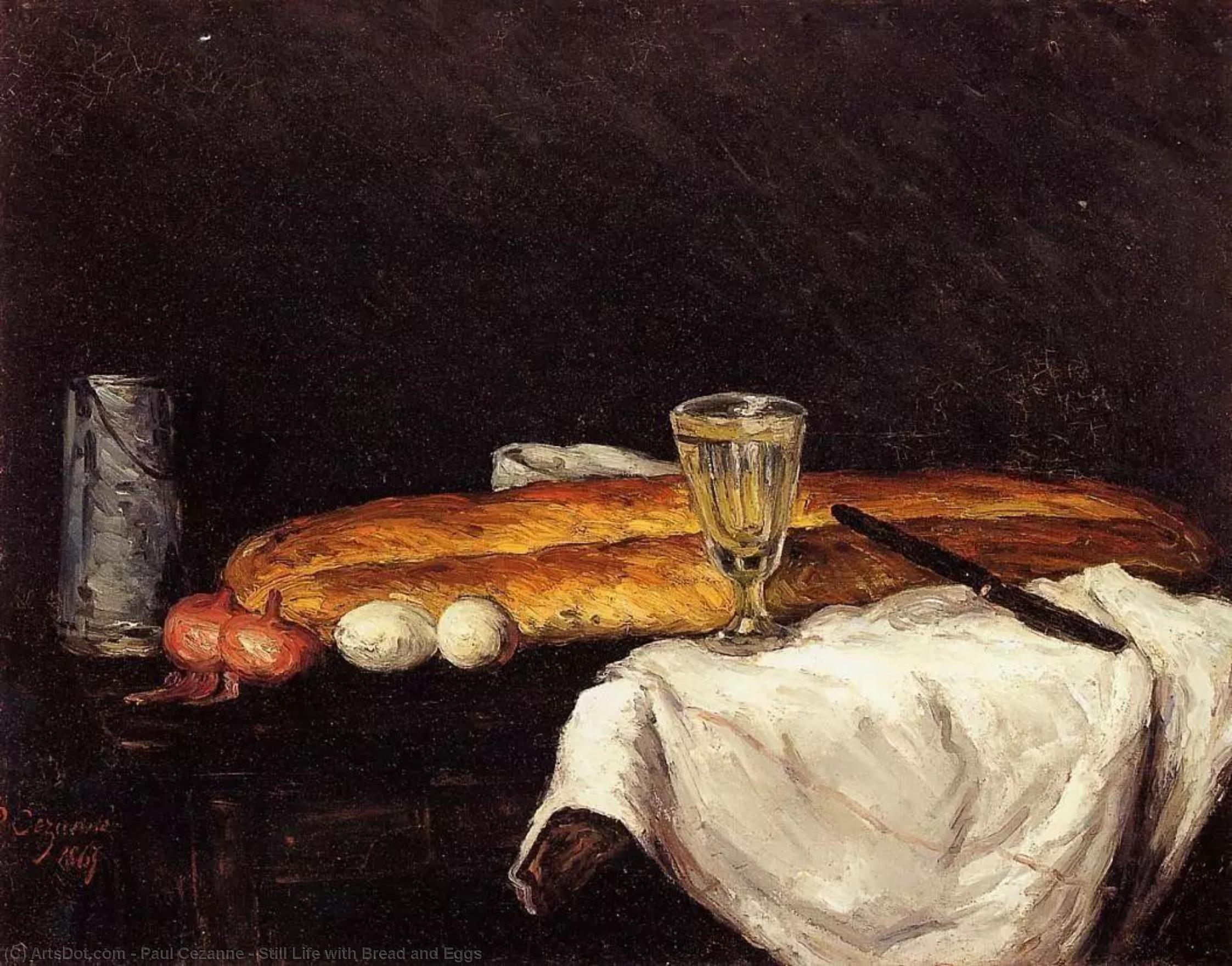 Wikioo.org - The Encyclopedia of Fine Arts - Painting, Artwork by Paul Cezanne - Still Life with Bread and Eggs