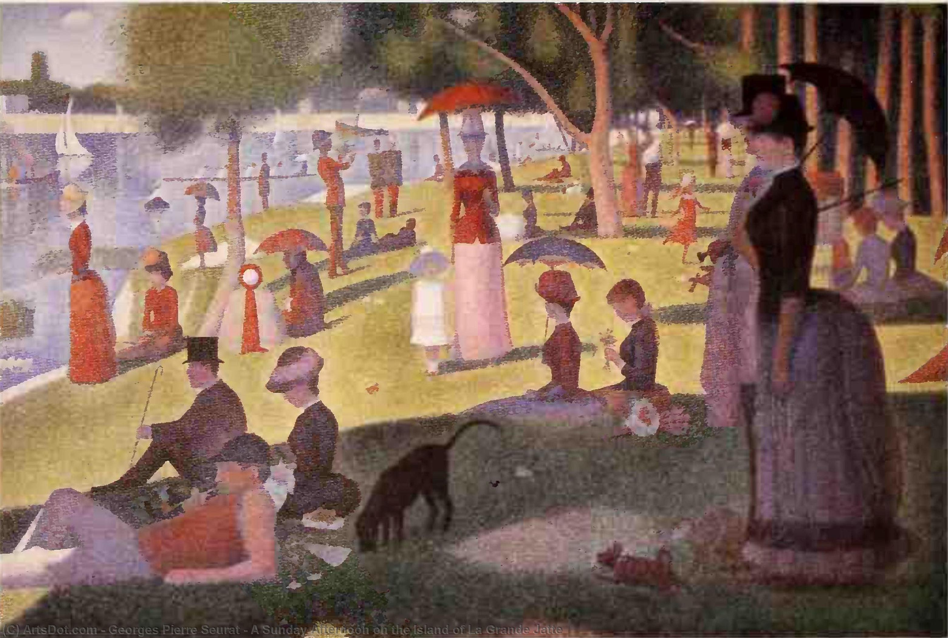 WikiOO.org - Encyclopedia of Fine Arts - Maleri, Artwork Georges Pierre Seurat - A Sunday Afternoon on the Island of La Grande Jatte