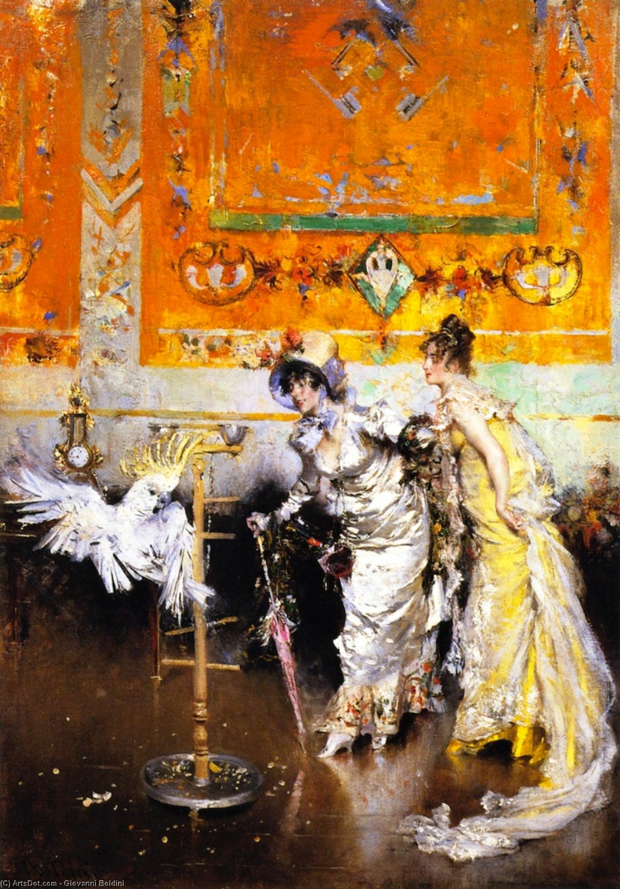 Wikioo.org - The Encyclopedia of Fine Arts - Painting, Artwork by Giovanni Boldini - Two Women with a Parrot (also known as Teasing the Parrot)