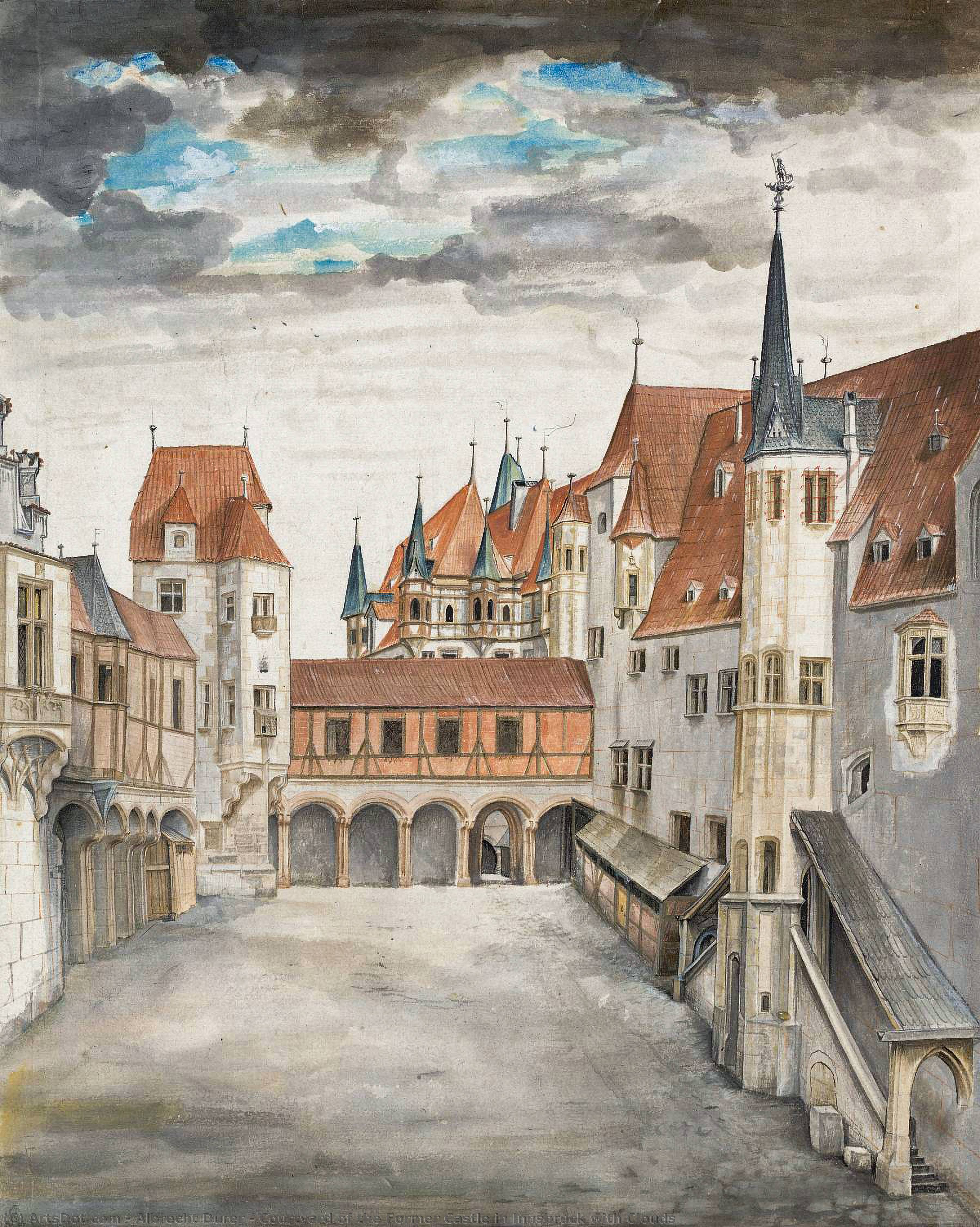 Wikioo.org - The Encyclopedia of Fine Arts - Painting, Artwork by Albrecht Durer - Courtyard of the Former Castle in Innsbruck with Clouds