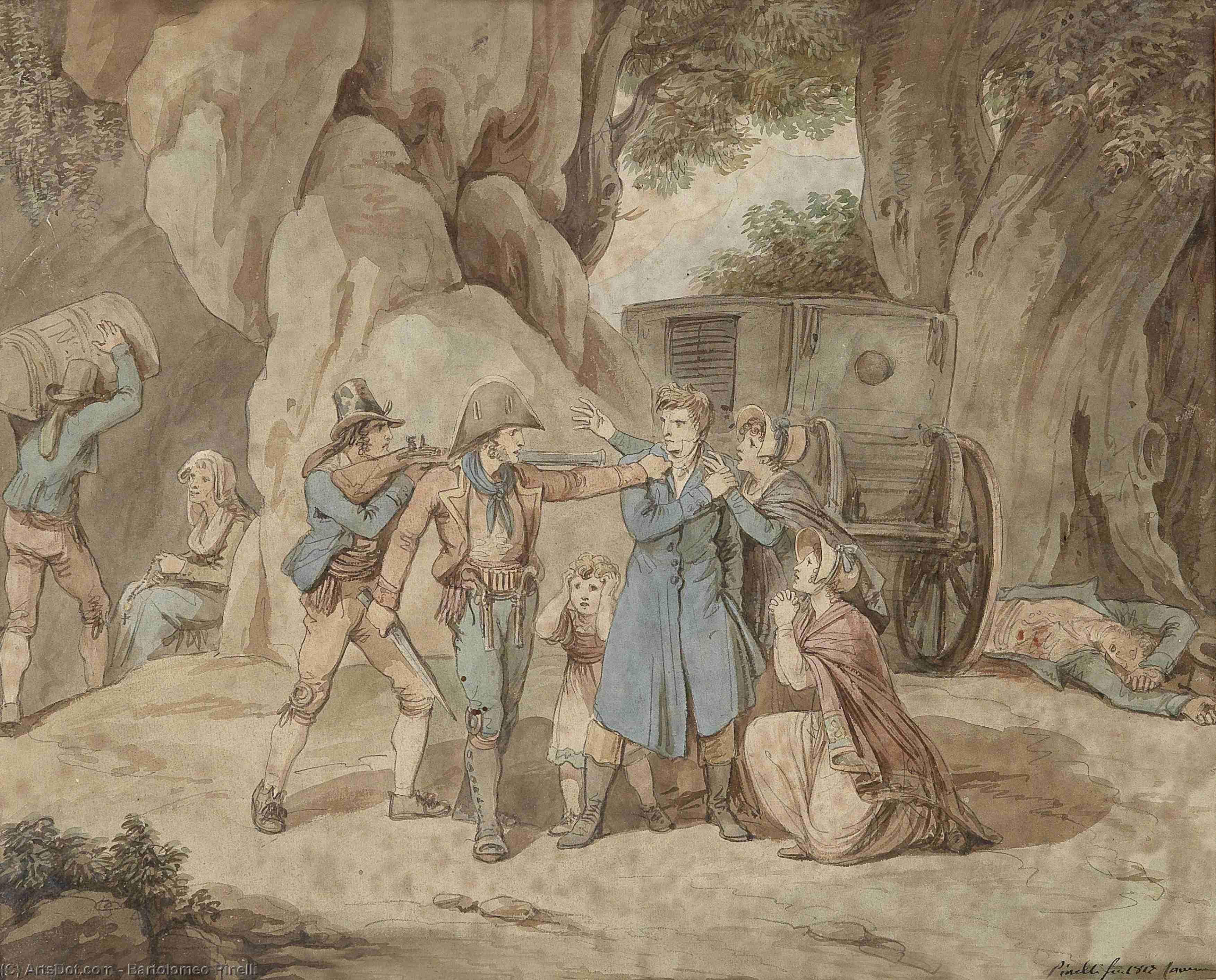 Wikioo.org – La Enciclopedia de las Bellas Artes - Pintura, Obras de arte de Bartolomeo Pinelli - Ladrones atacado  Un  familia