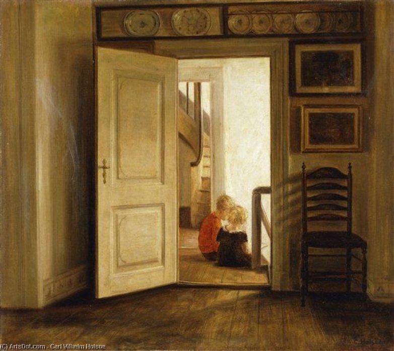 WikiOO.org - Enciclopedia of Fine Arts - Pictura, lucrări de artă Carl Vilhelm Holsoe - Children In An Interior