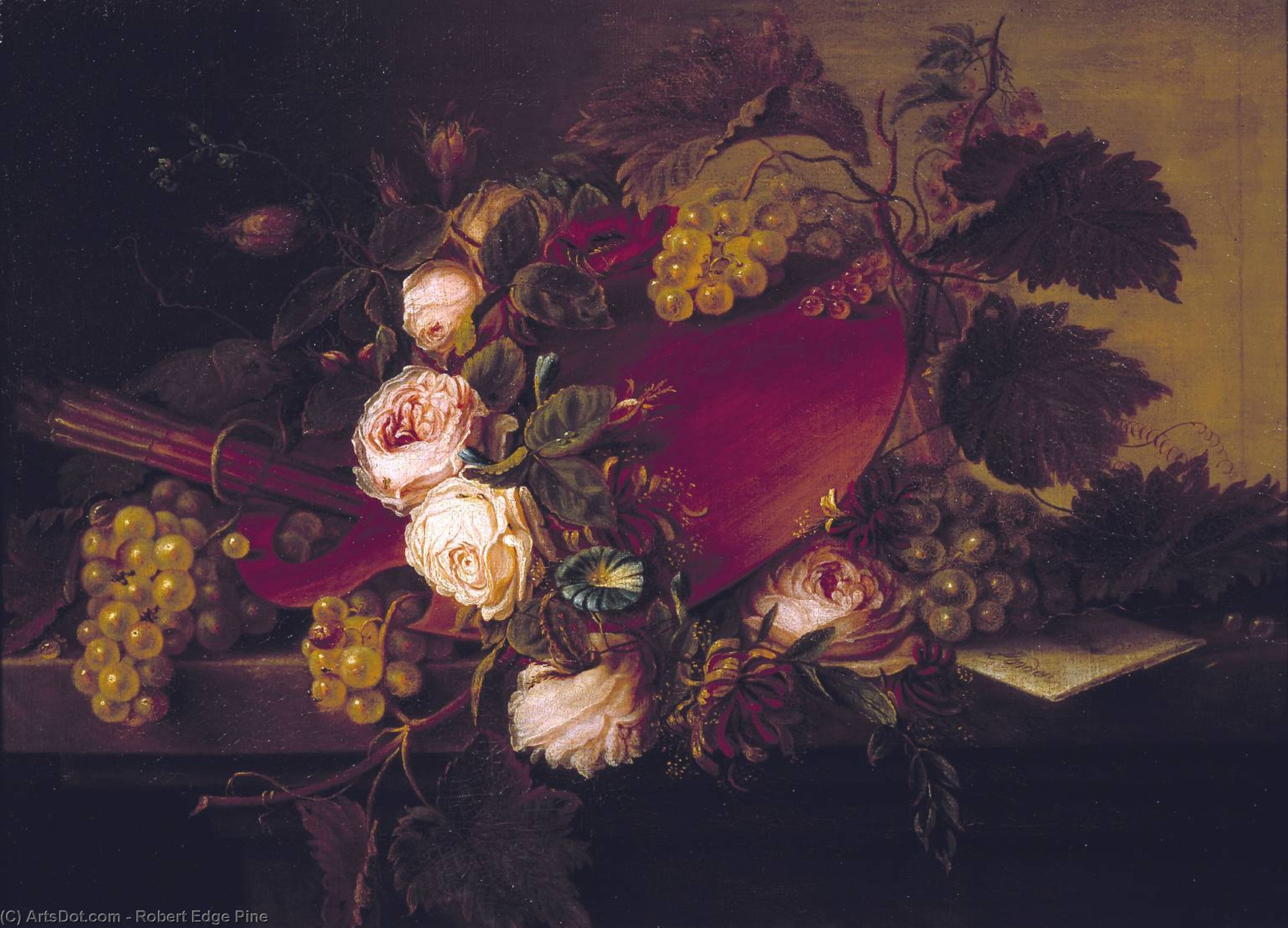 Wikioo.org - The Encyclopedia of Fine Arts - Painting, Artwork by Robert Edge Pine - Still Life With Palette And Brushes, Fruit And Flowers