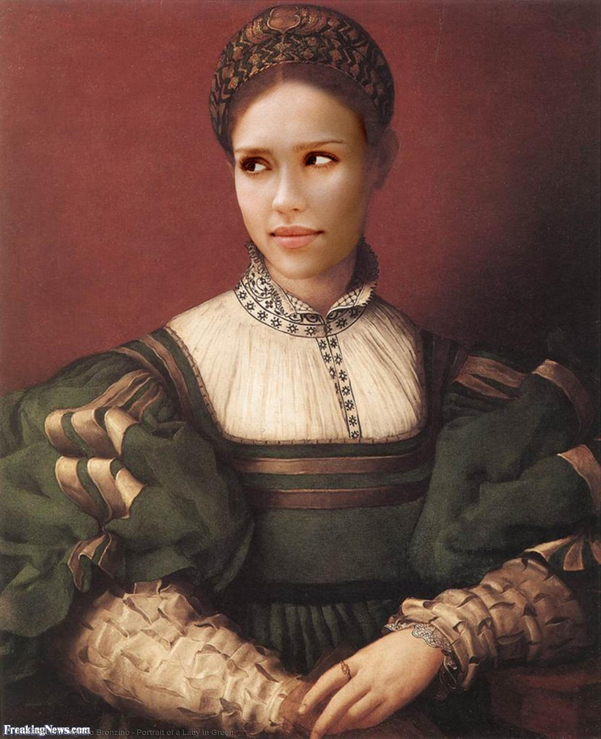 Wikioo.org - The Encyclopedia of Fine Arts - Painting, Artwork by Agnolo Bronzino - Portrait of a Lady in Green