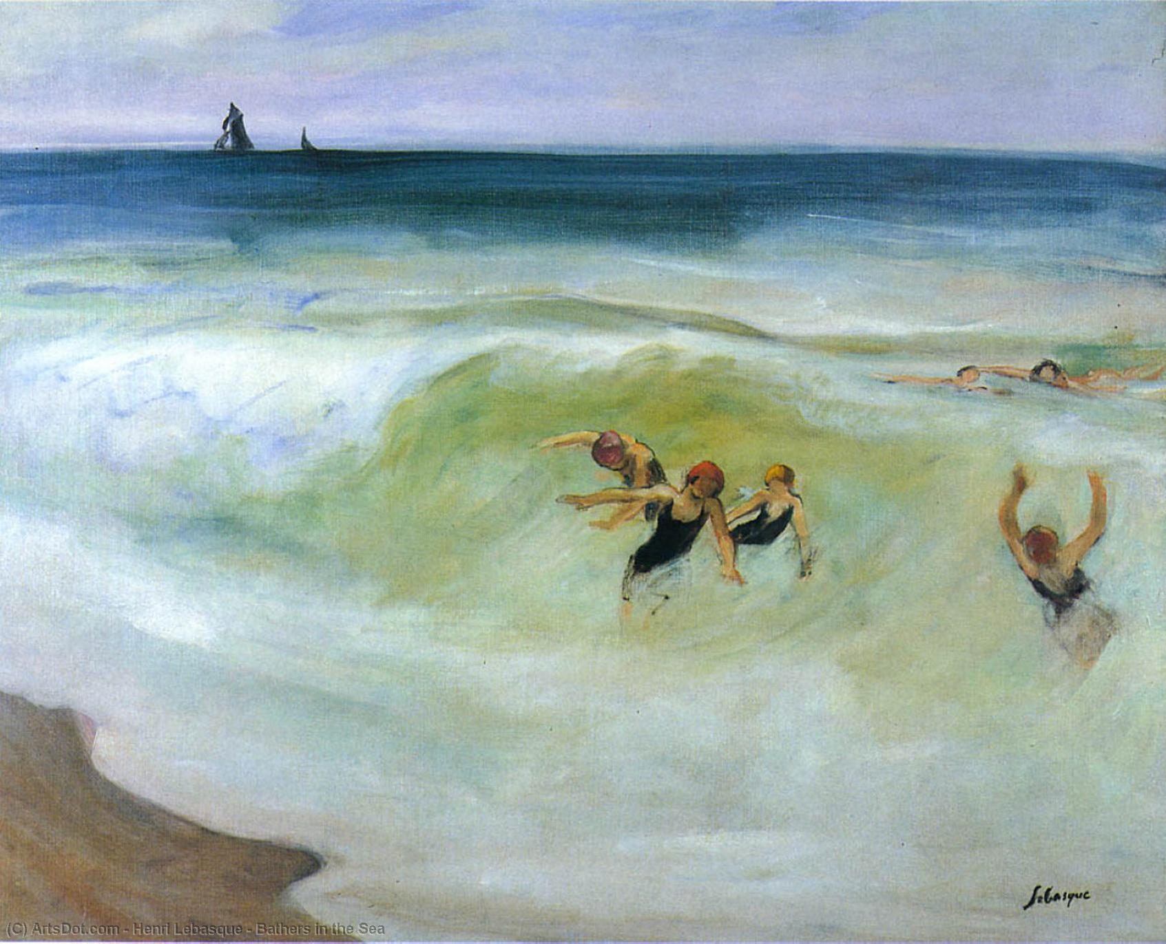 Wikioo.org - The Encyclopedia of Fine Arts - Painting, Artwork by Henri Lebasque - Bathers in the Sea