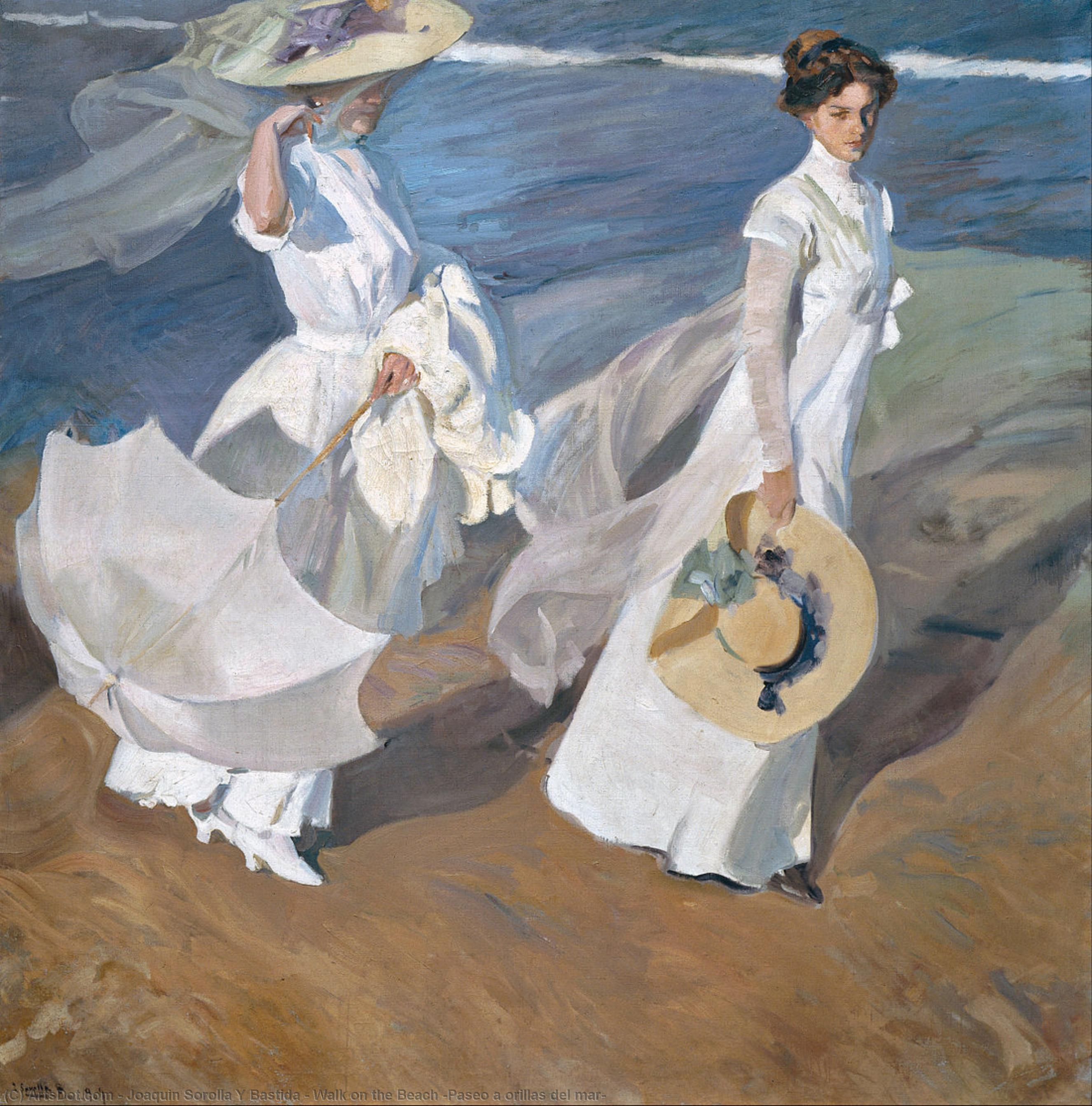 Wikioo.org - The Encyclopedia of Fine Arts - Painting, Artwork by Joaquin Sorolla Y Bastida - Walk on the Beach (Paseo a orillas del mar)