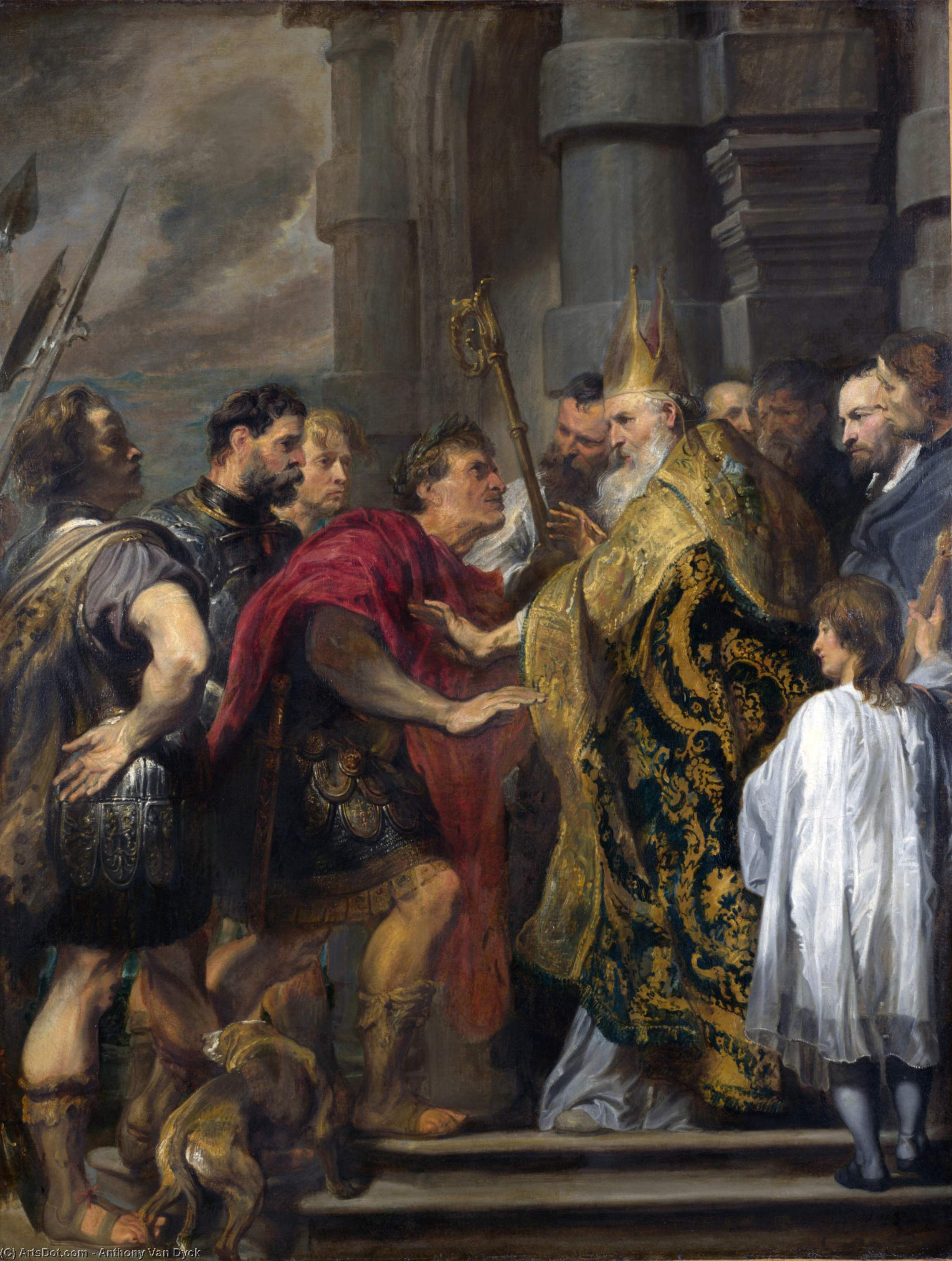 Wikioo.org - The Encyclopedia of Fine Arts - Painting, Artwork by Anthony Van Dyck - St Ambrose barring Theodosius from Milan Cathedral