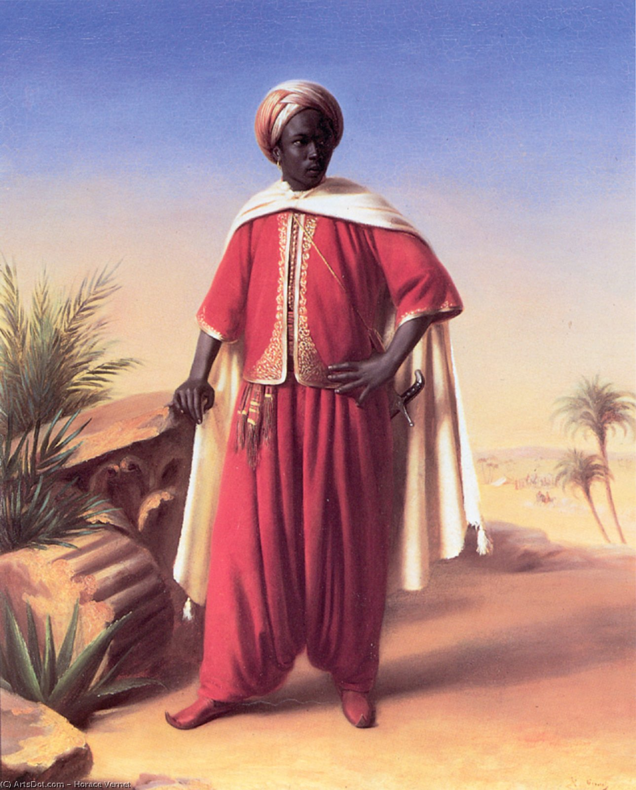 Wikioo.org - The Encyclopedia of Fine Arts - Painting, Artwork by Emile Jean Horace Vernet - H Portrait of an Arab