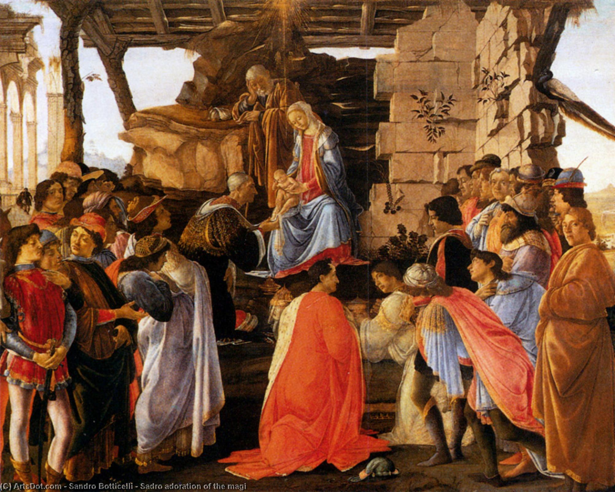 Wikioo.org - The Encyclopedia of Fine Arts - Painting, Artwork by Sandro Botticelli - Sadro adoration of the magi