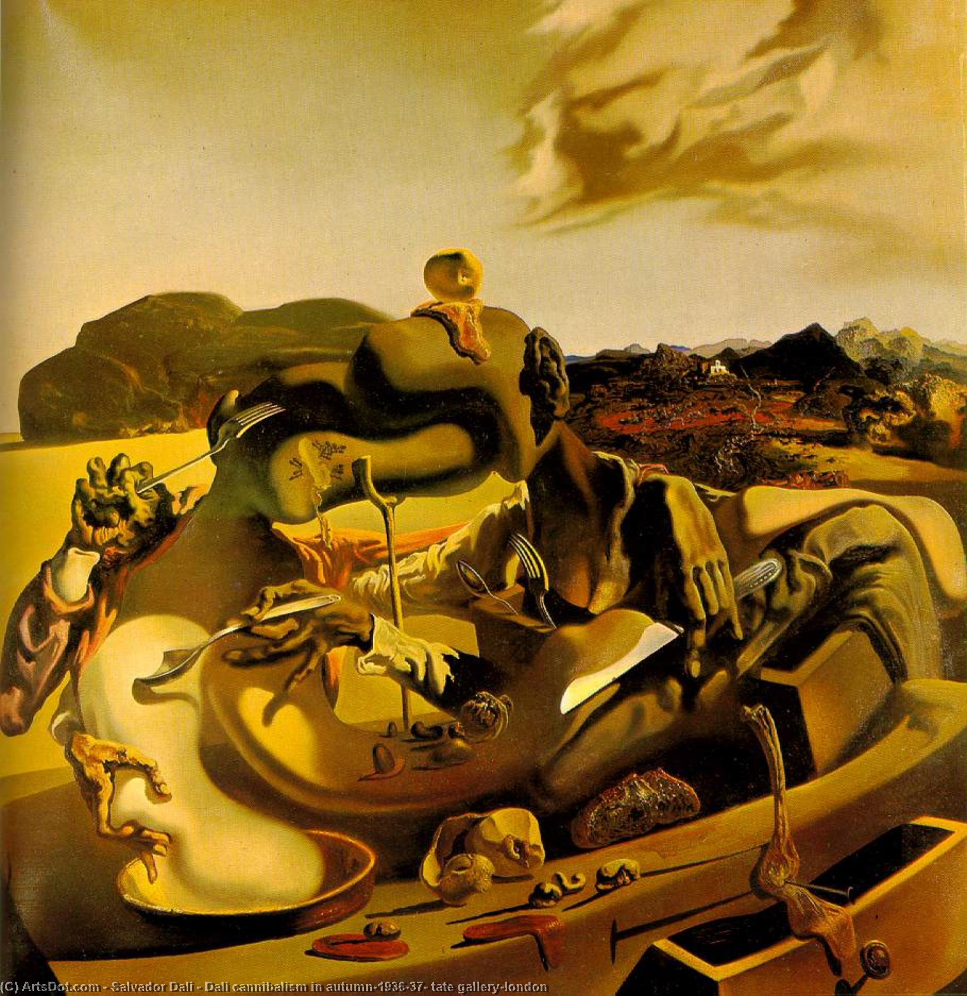 Wikioo.org - The Encyclopedia of Fine Arts - Painting, Artwork by Salvador Dali - Dalí cannibalism in autumn,1936-37, tate gallery,london