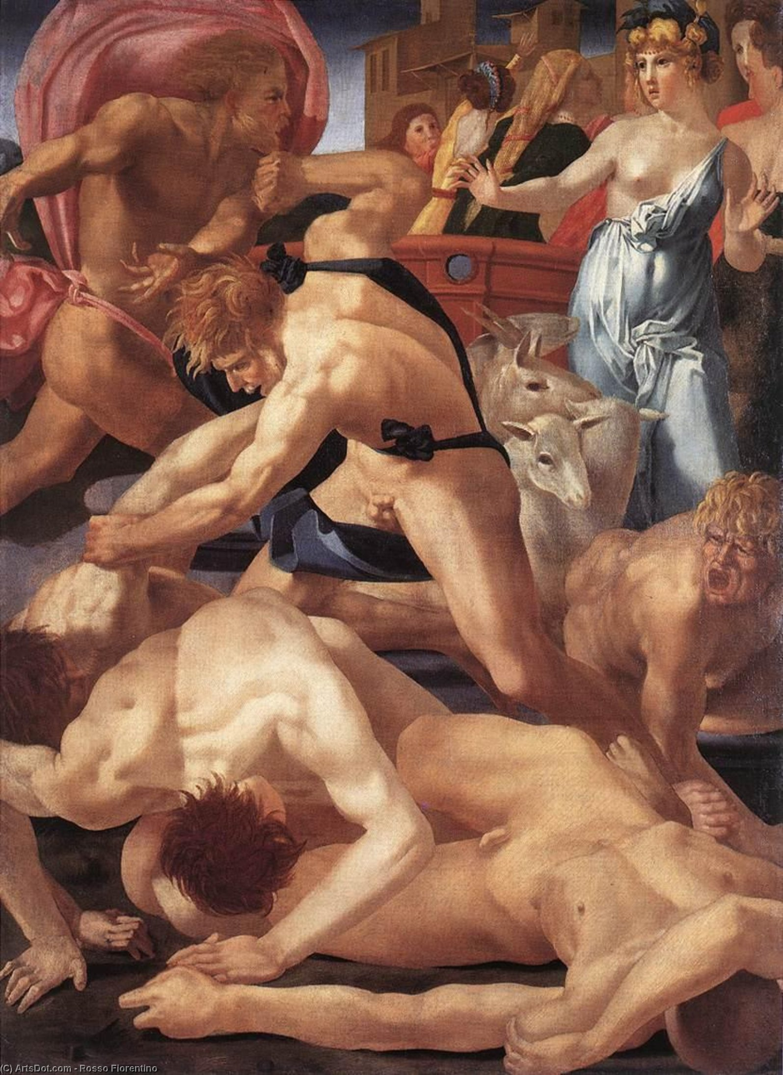 Wikioo.org - The Encyclopedia of Fine Arts - Painting, Artwork by Rosso Fiorentino - Moses and Jethro's daughters, - (160x117)