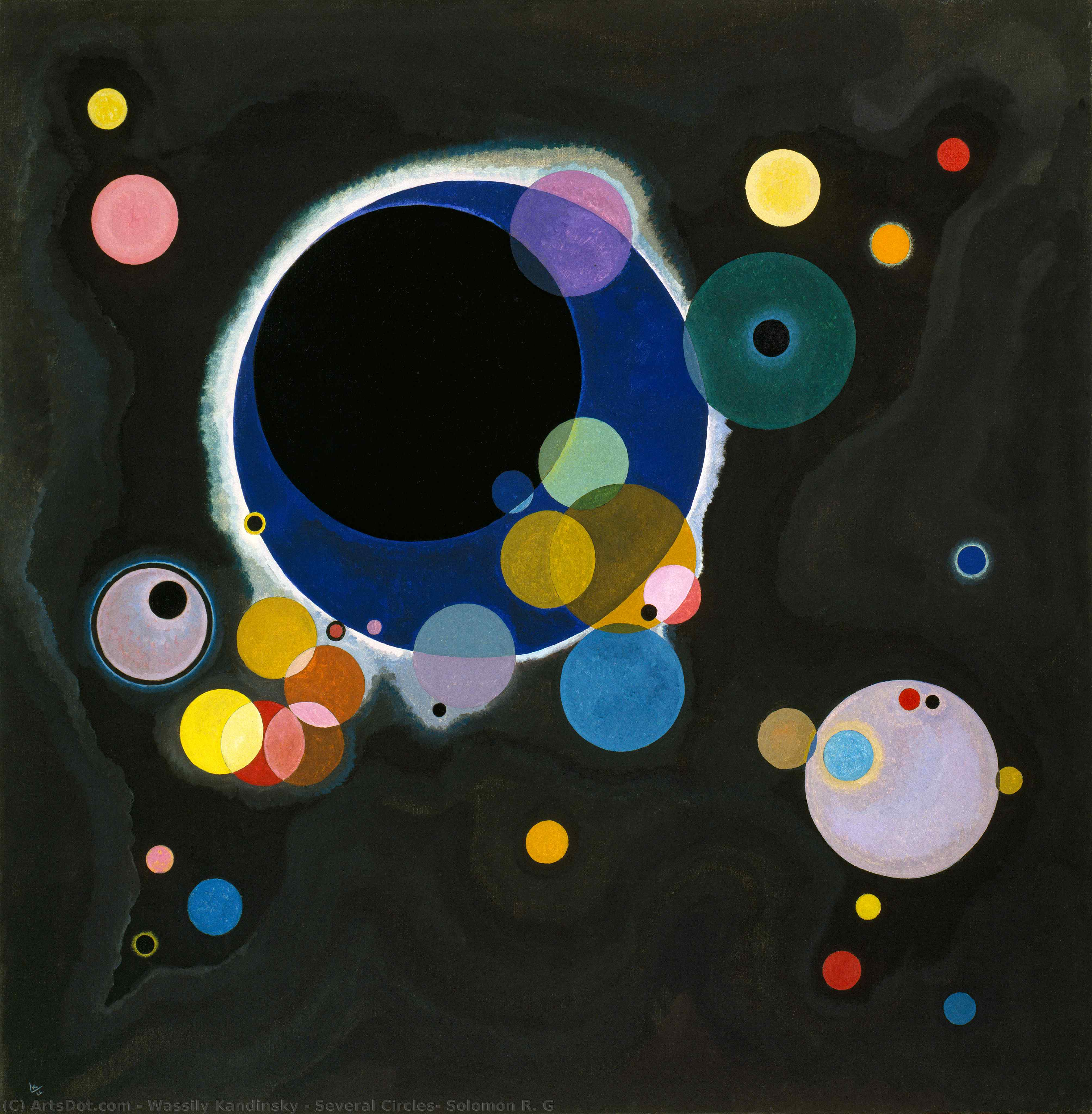 Wikioo.org - The Encyclopedia of Fine Arts - Painting, Artwork by Wassily Kandinsky - Several Circles, Solomon R. G