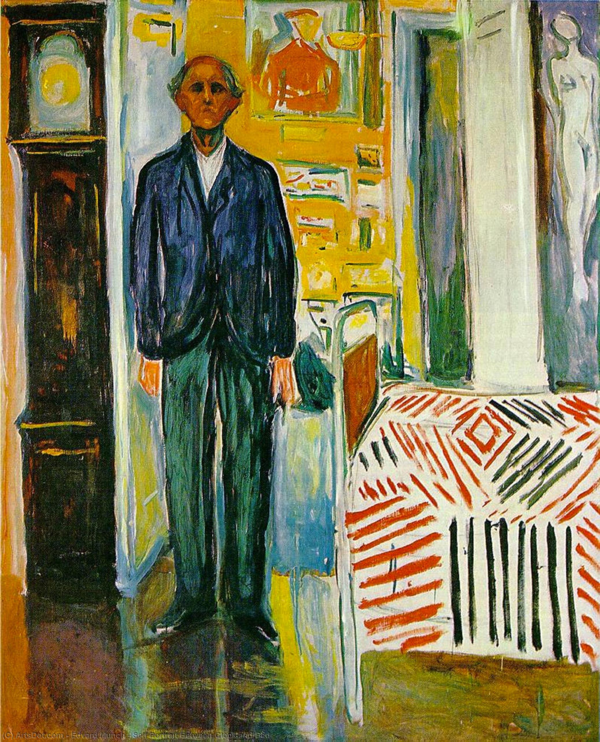 Wikoo.org - موسوعة الفنون الجميلة - اللوحة، العمل الفني Edvard Munch - Self Portrait Between Clock and Bed