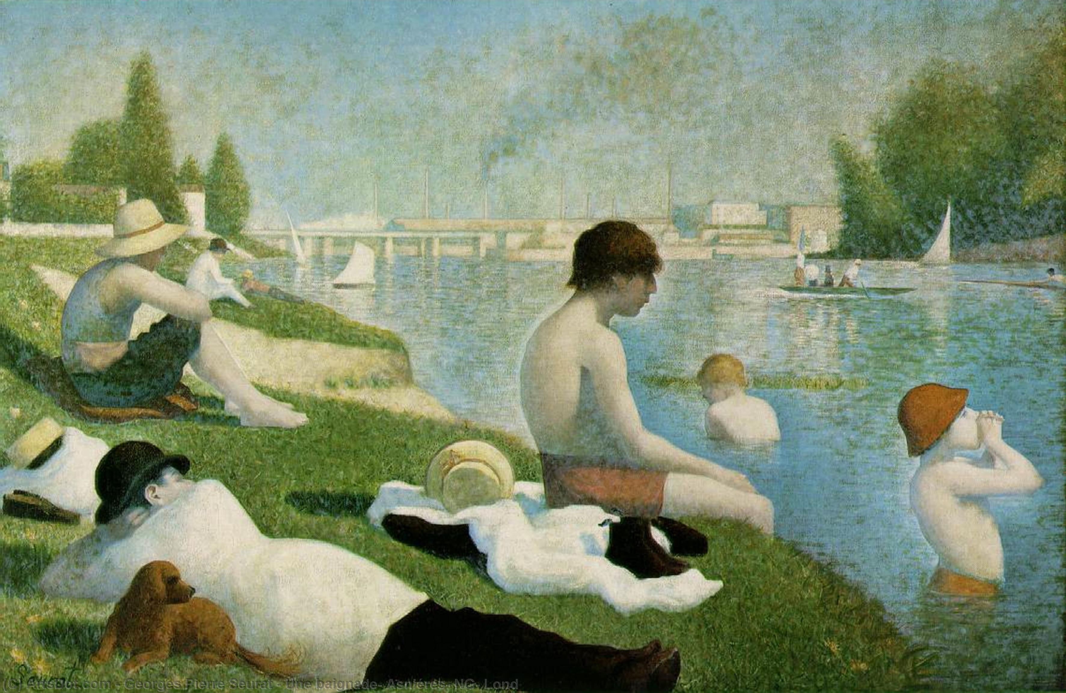 Wikioo.org - The Encyclopedia of Fine Arts - Painting, Artwork by Georges Pierre Seurat - Une baignade, Asniéres, NG, Lond