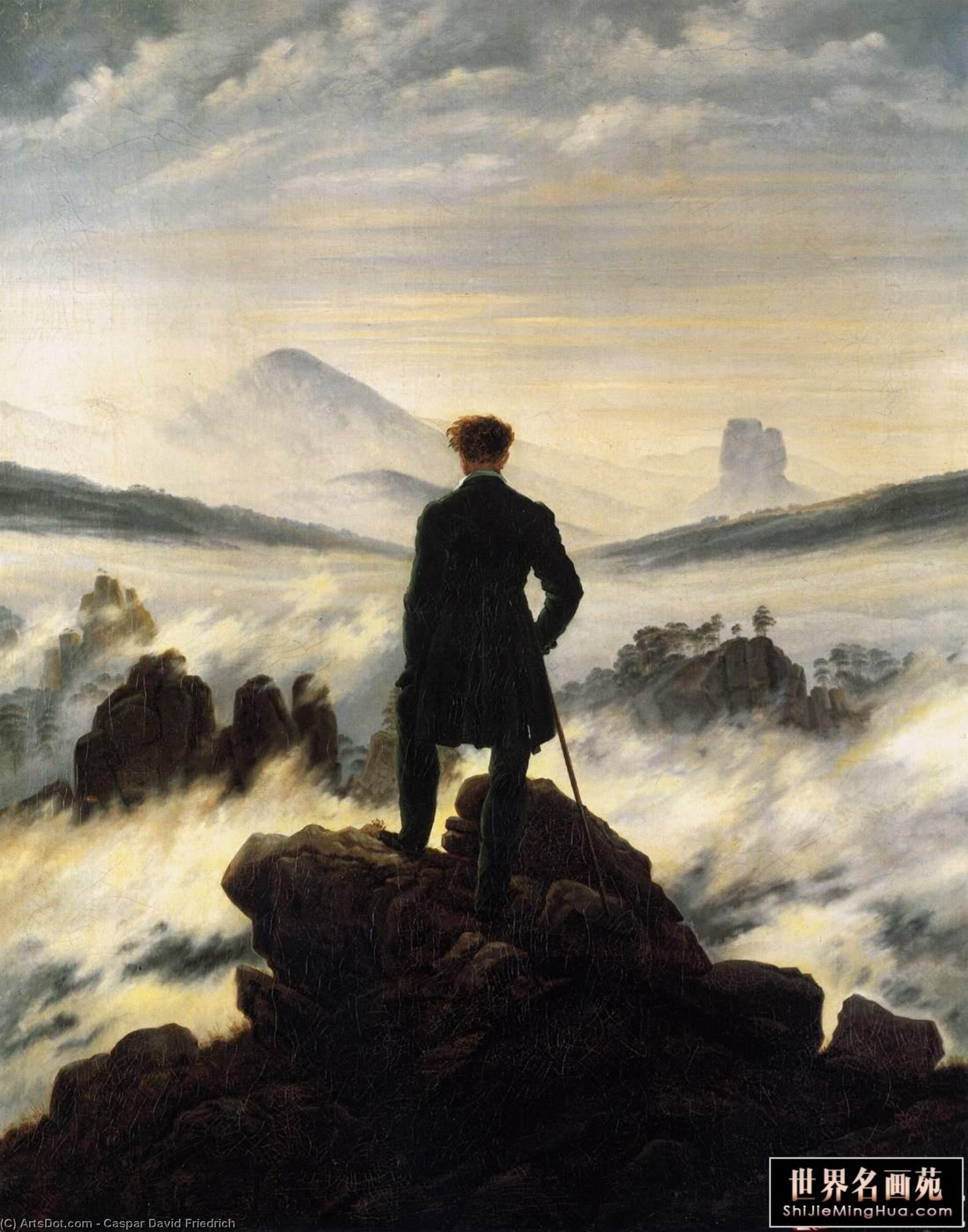 Wikioo.org - The Encyclopedia of Fine Arts - Painting, Artwork by Caspar David Friedrich - Wanderer above the Mists