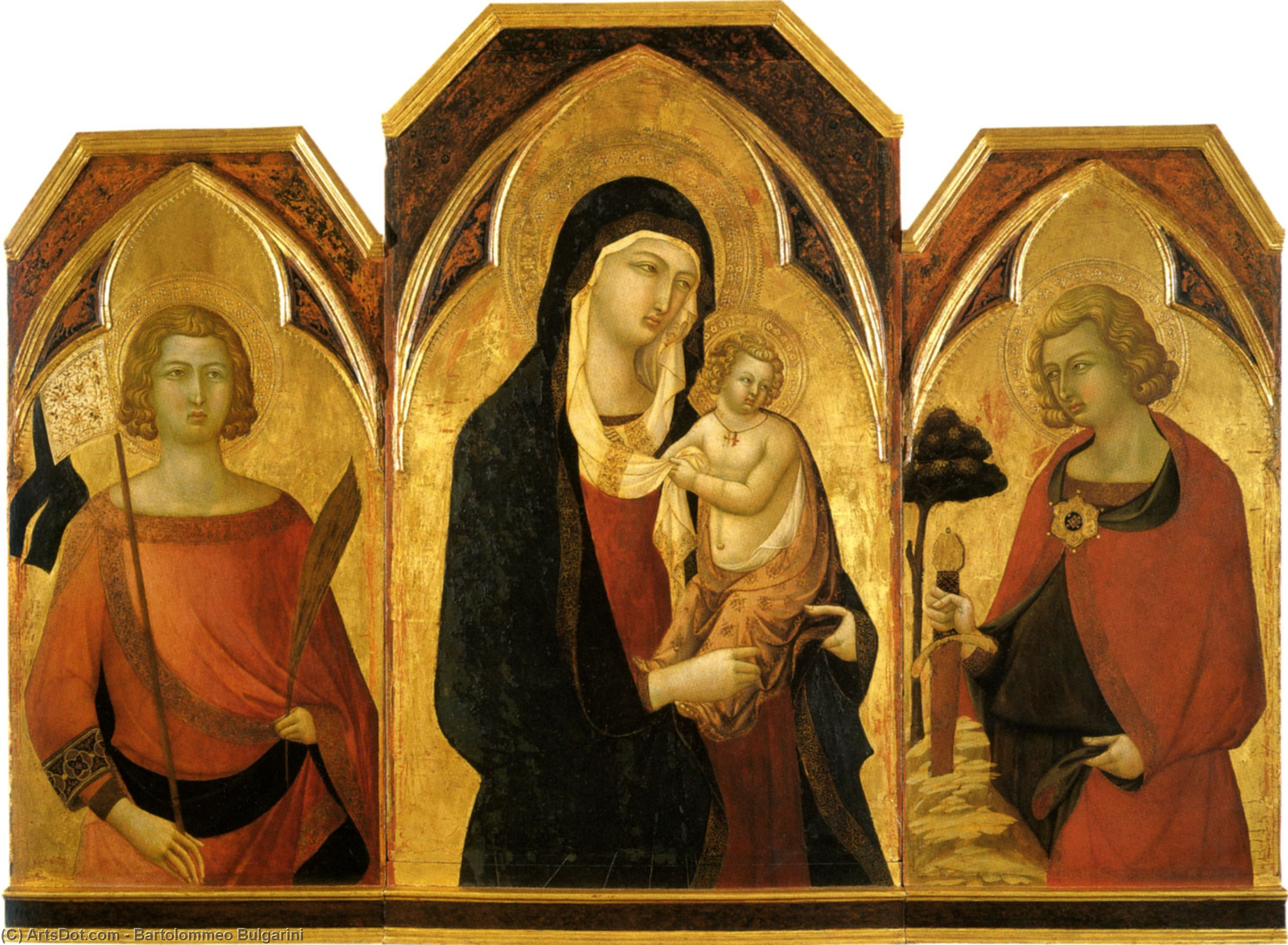 WikiOO.org - Enciklopedija dailės - Tapyba, meno kuriniai Bartolommeo Bulgarini - The madonna and child with saints