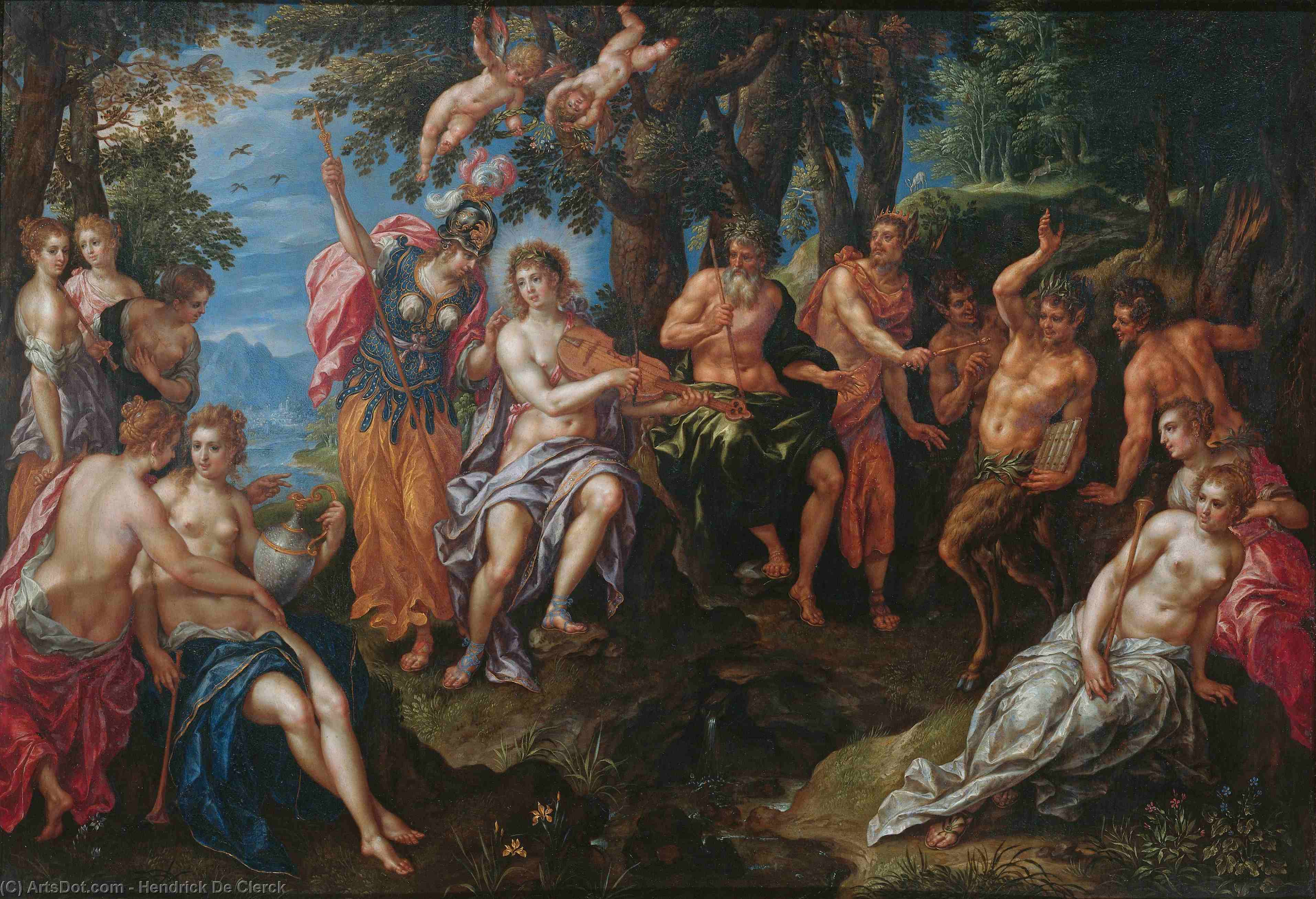 Wikioo.org - The Encyclopedia of Fine Arts - Painting, Artwork by Hendrick De Clerck - The contest between Apollo and Pan