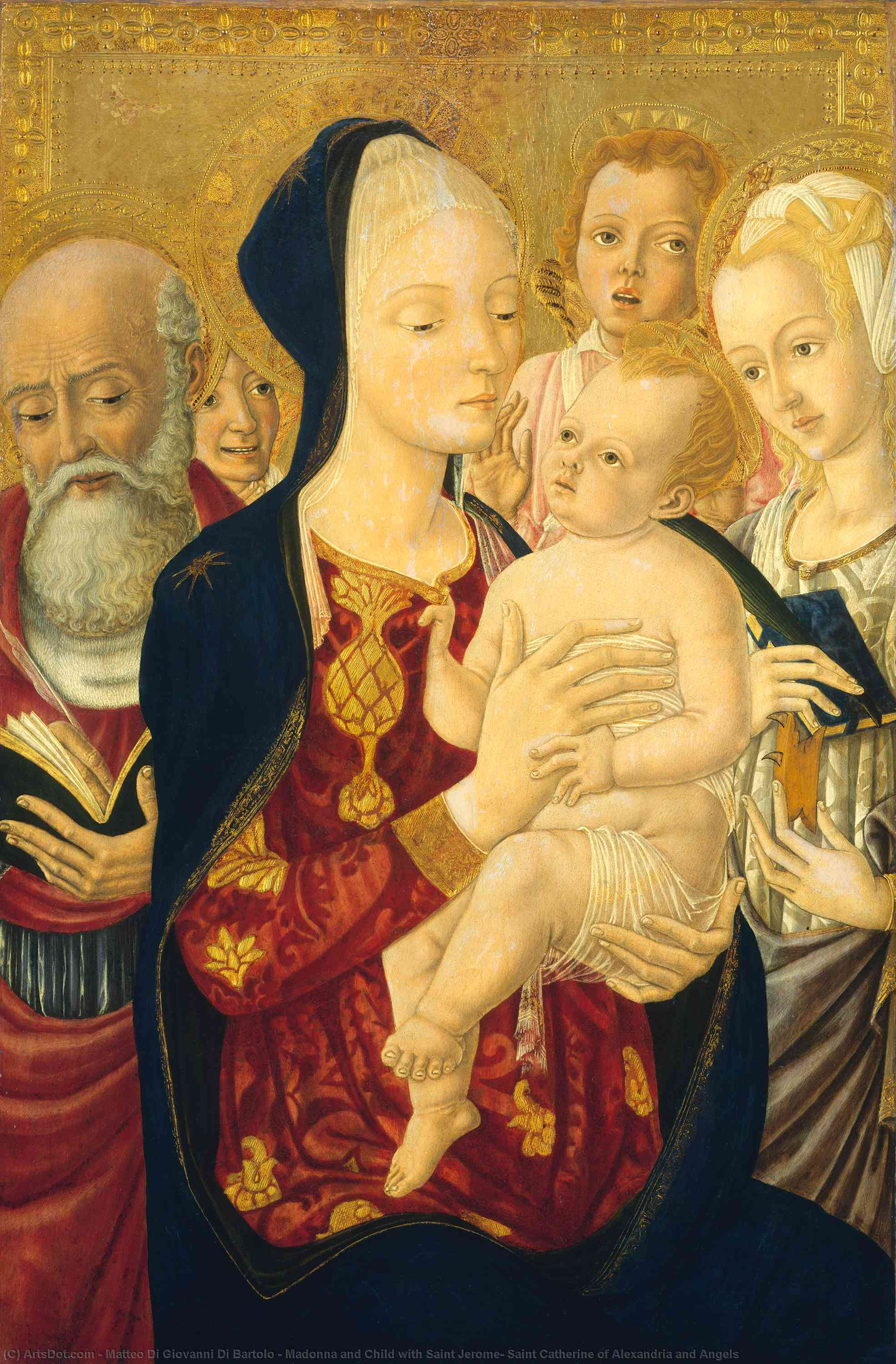 Wikioo.org - The Encyclopedia of Fine Arts - Painting, Artwork by Matteo Di Giovanni Di Bartolo - Madonna and Child with Saint Jerome, Saint Catherine of Alexandria and Angels