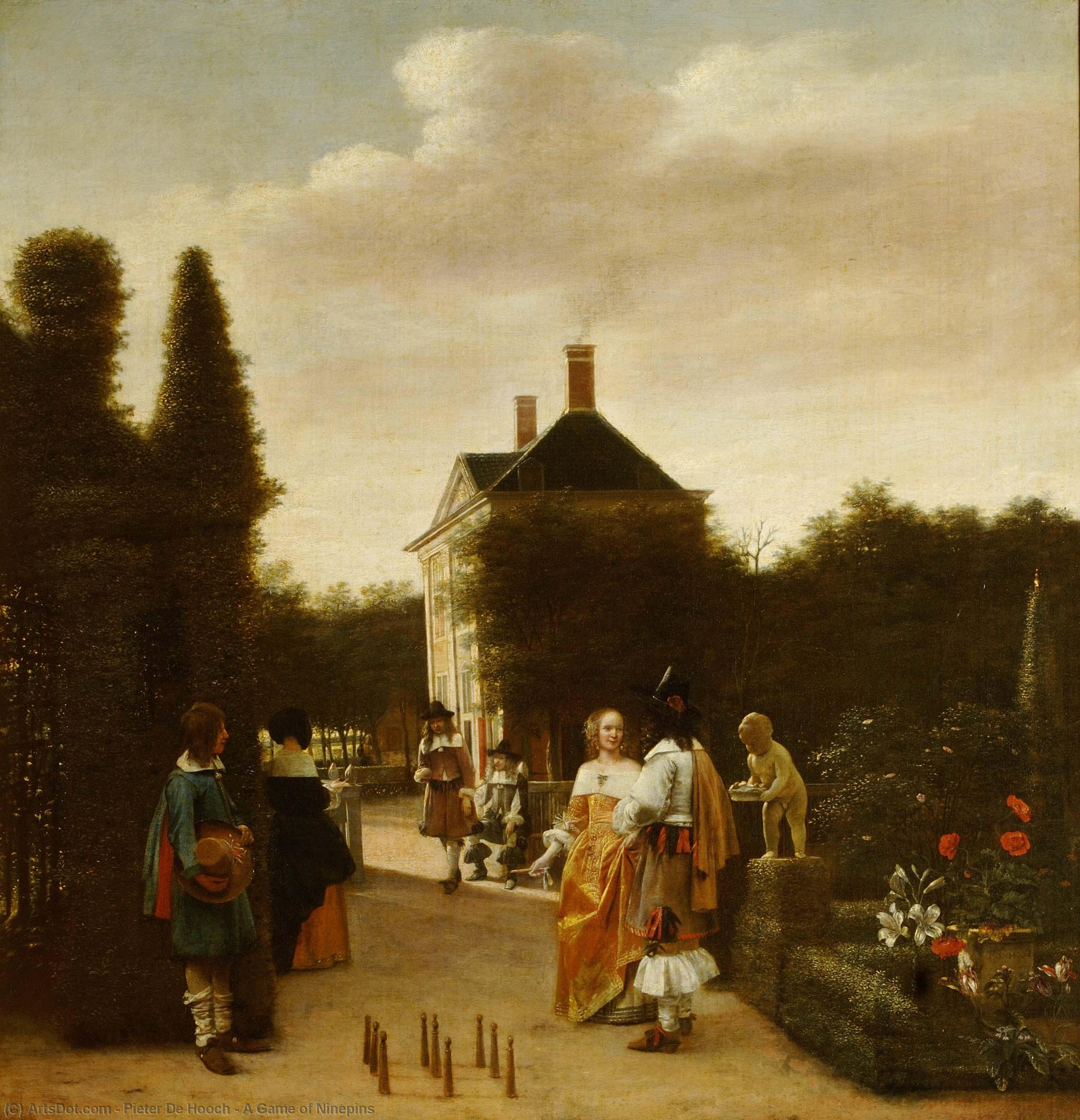 Wikioo.org - The Encyclopedia of Fine Arts - Painting, Artwork by Pieter De Hooch - A Game of Ninepins
