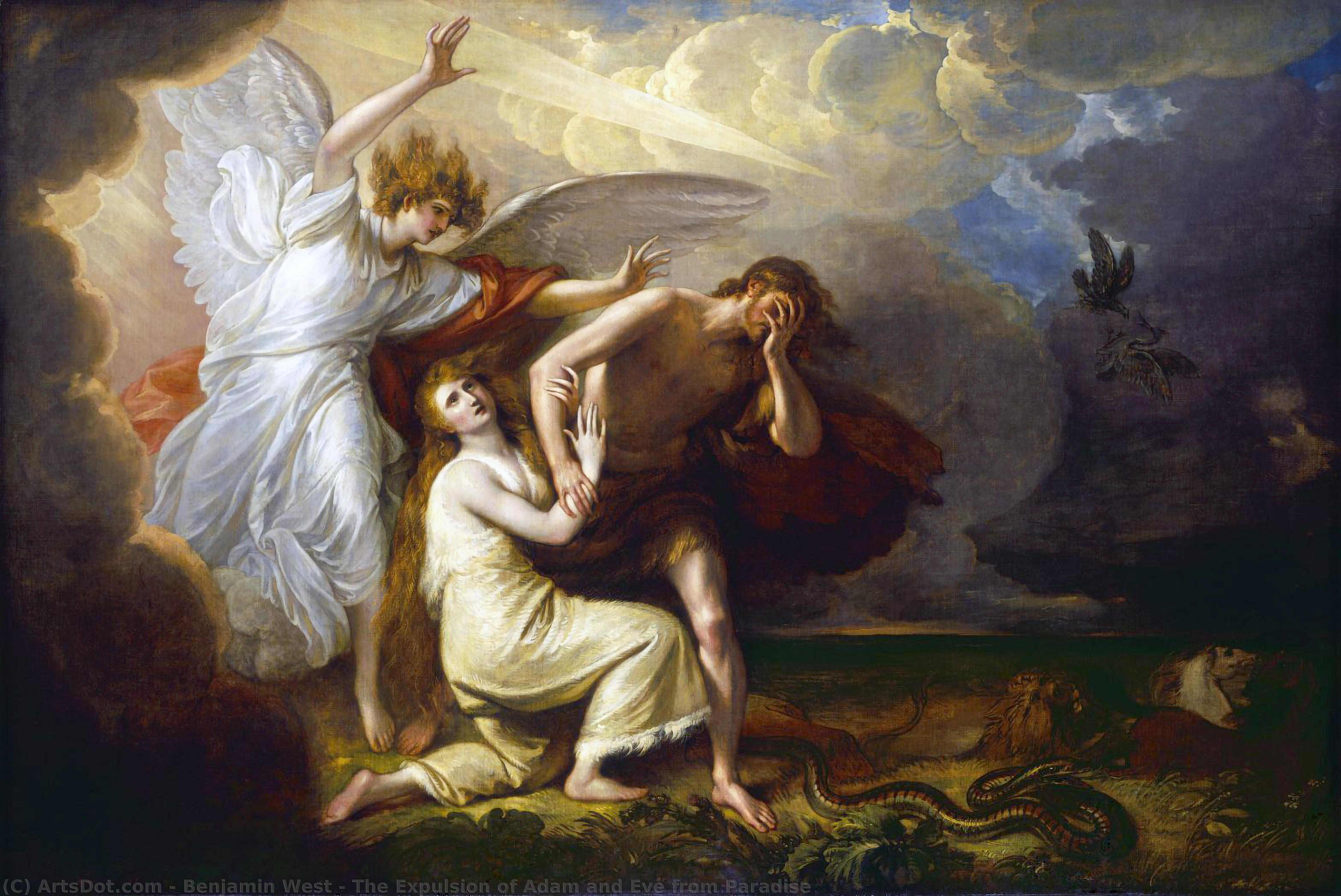 Wikioo.org - The Encyclopedia of Fine Arts - Painting, Artwork by Benjamin West - The Expulsion of Adam and Eve from Paradise