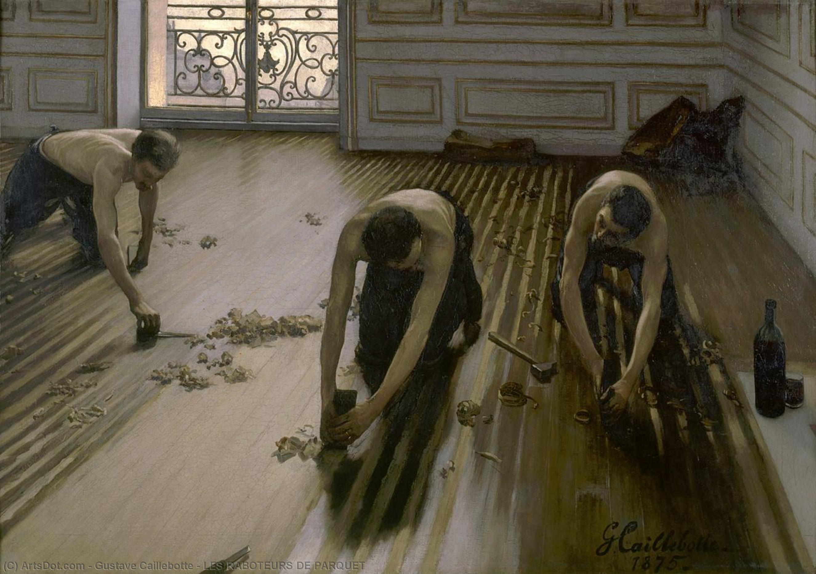 Wikioo.org - The Encyclopedia of Fine Arts - Painting, Artwork by Gustave Caillebotte - LES RABOTEURS DE PARQUET