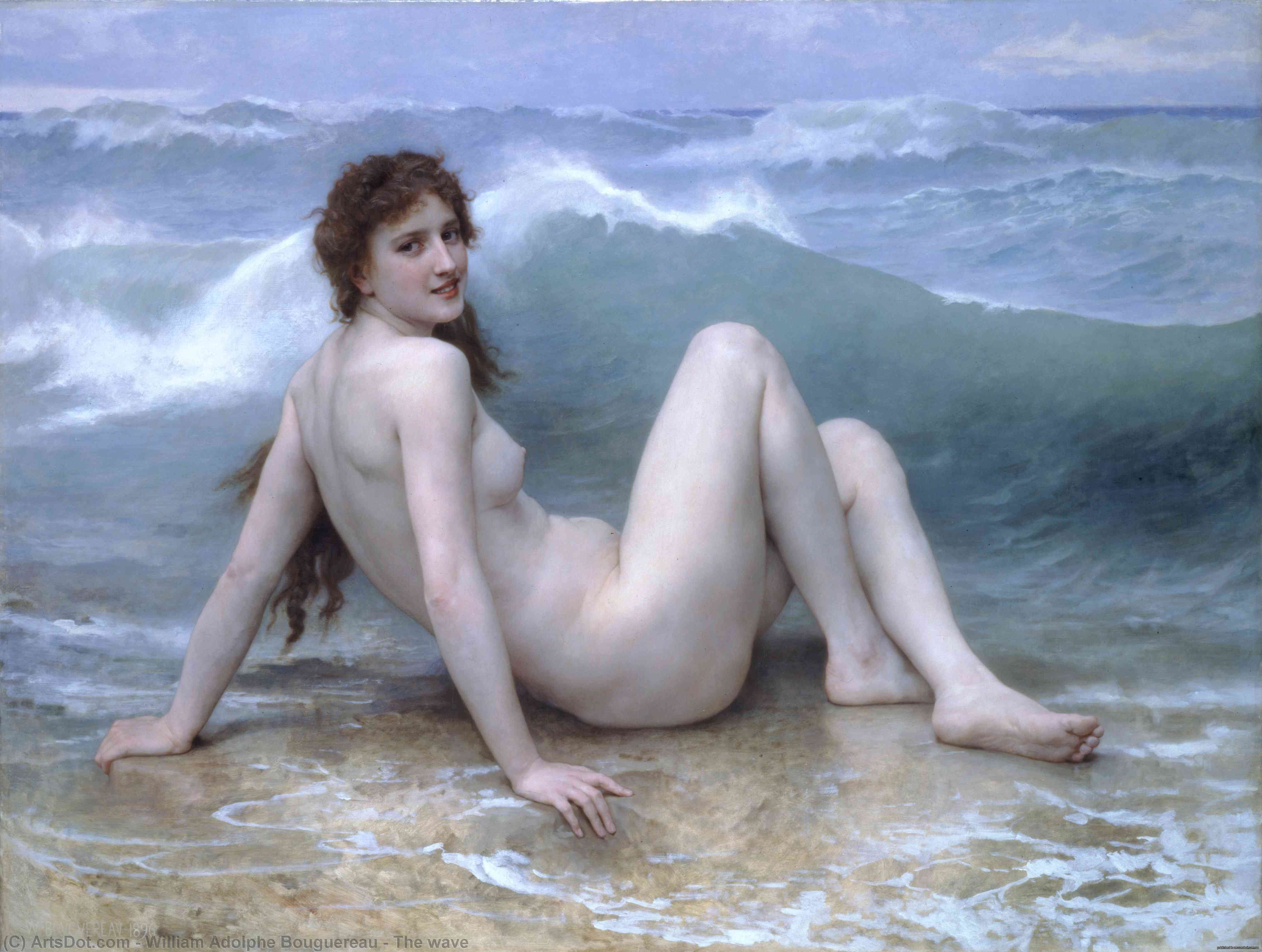 Wikioo.org - The Encyclopedia of Fine Arts - Painting, Artwork by William Adolphe Bouguereau - The wave