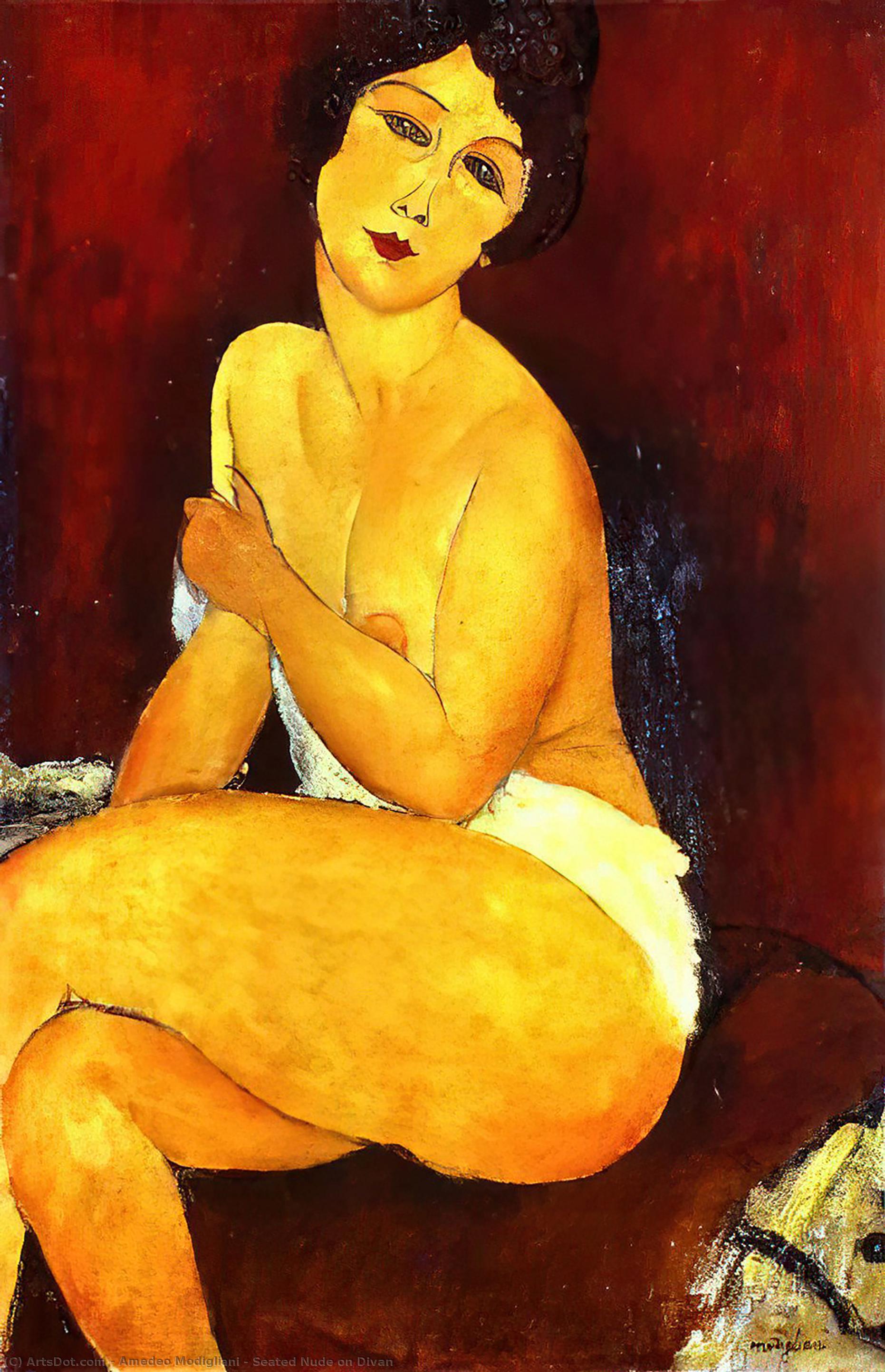 Wikoo.org - موسوعة الفنون الجميلة - اللوحة، العمل الفني Amedeo Modigliani - Seated Nude on Divan