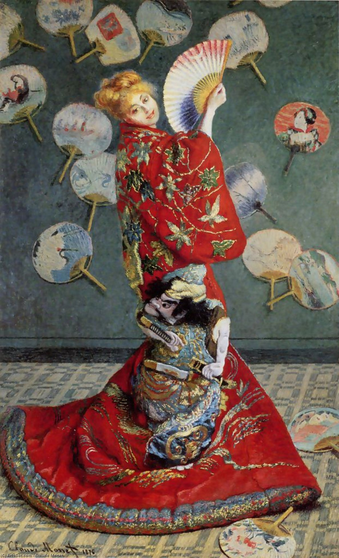 Wikioo.org - The Encyclopedia of Fine Arts - Painting, Artwork by Claude Monet - Madame Monet in Japanese Costume (La Japonaise)