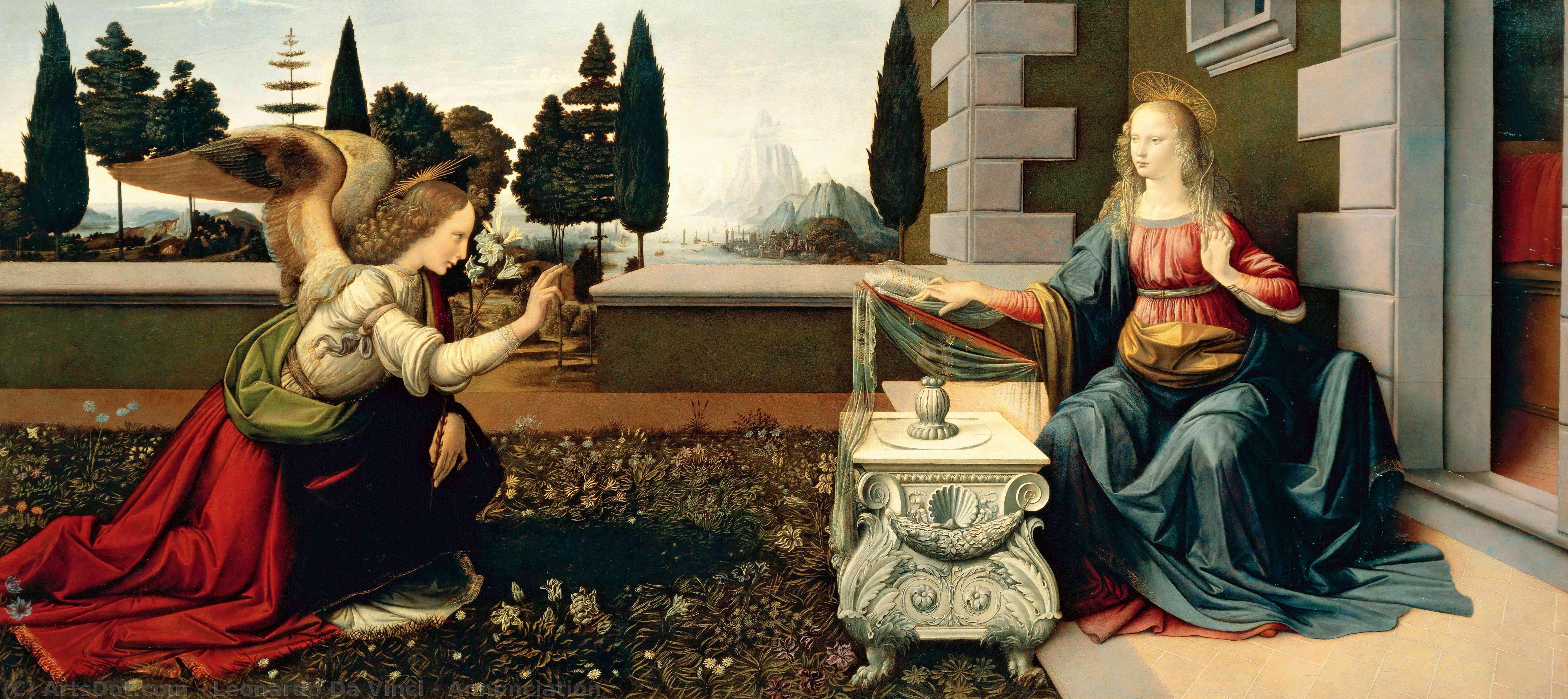 Wikioo.org - Bách khoa toàn thư về mỹ thuật - Vẽ tranh, Tác phẩm nghệ thuật Leonardo Da Vinci - Annunciation