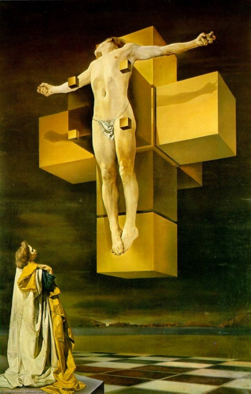 Wikioo.org - The Encyclopedia of Fine Arts - Painting, Artwork by Salvador Dali - Crucifixion (Hypercubic Body)