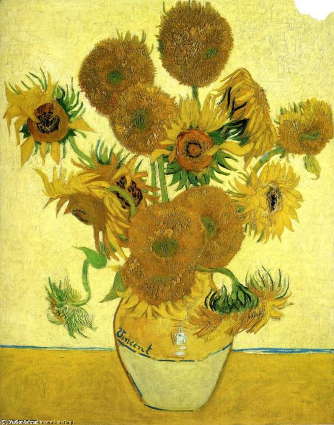 Wikioo.org - The Encyclopedia of Fine Arts - Painting, Artwork by Vincent Van Gogh - Still Life - Vase with Fifteen Sunflowers