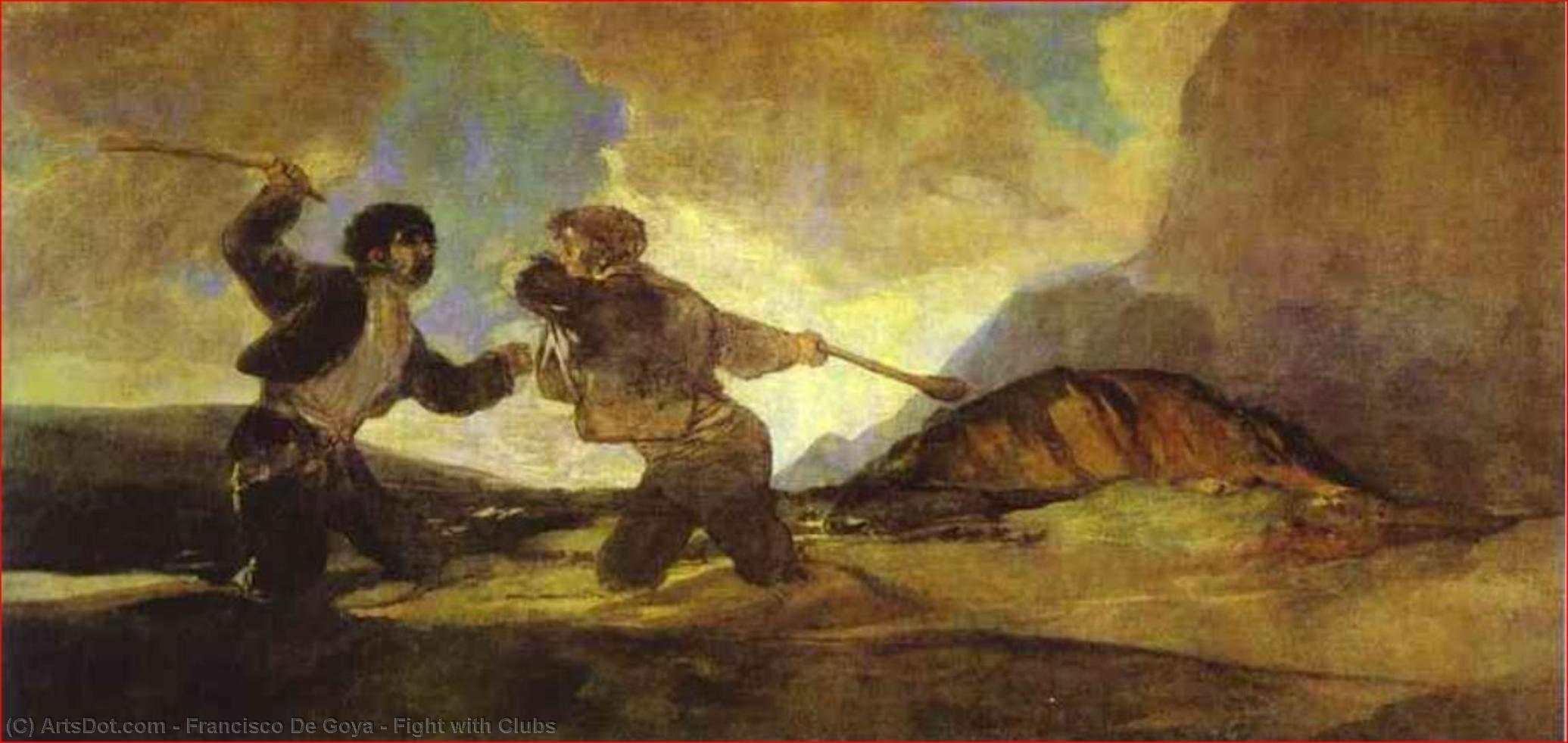 Wikioo.org - The Encyclopedia of Fine Arts - Painting, Artwork by Francisco De Goya - Fight with Clubs