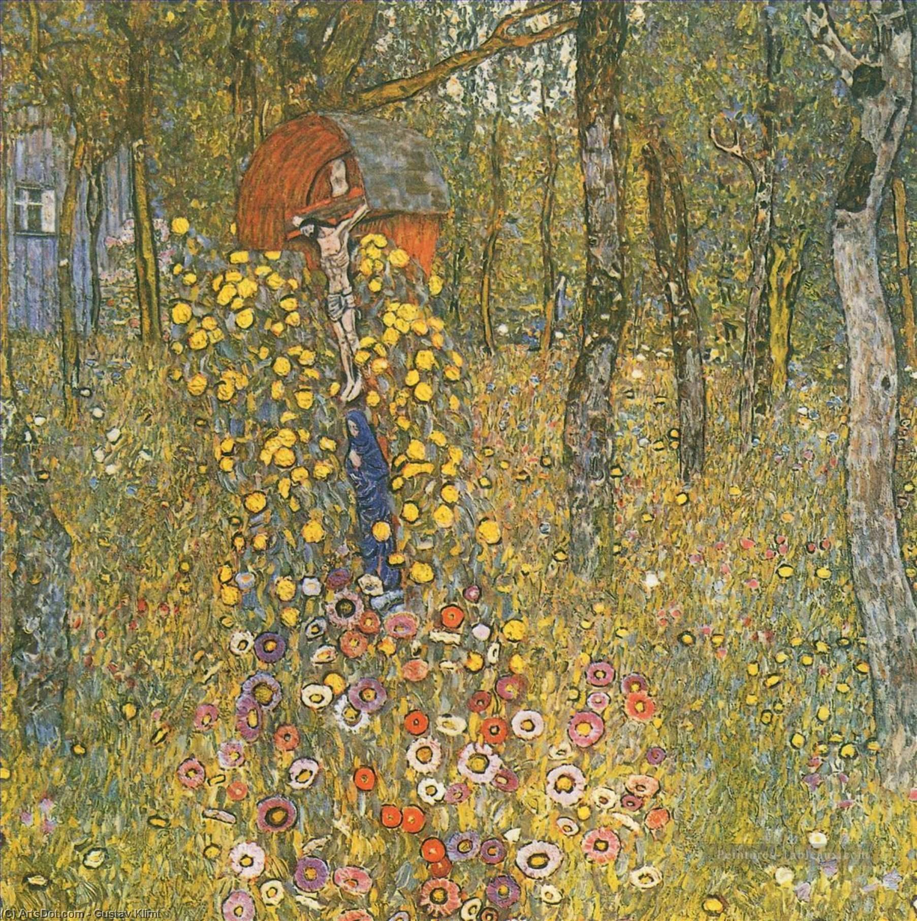 Wikoo.org - موسوعة الفنون الجميلة - اللوحة، العمل الفني Gustav Klimt - Farm Garden with Crucifix