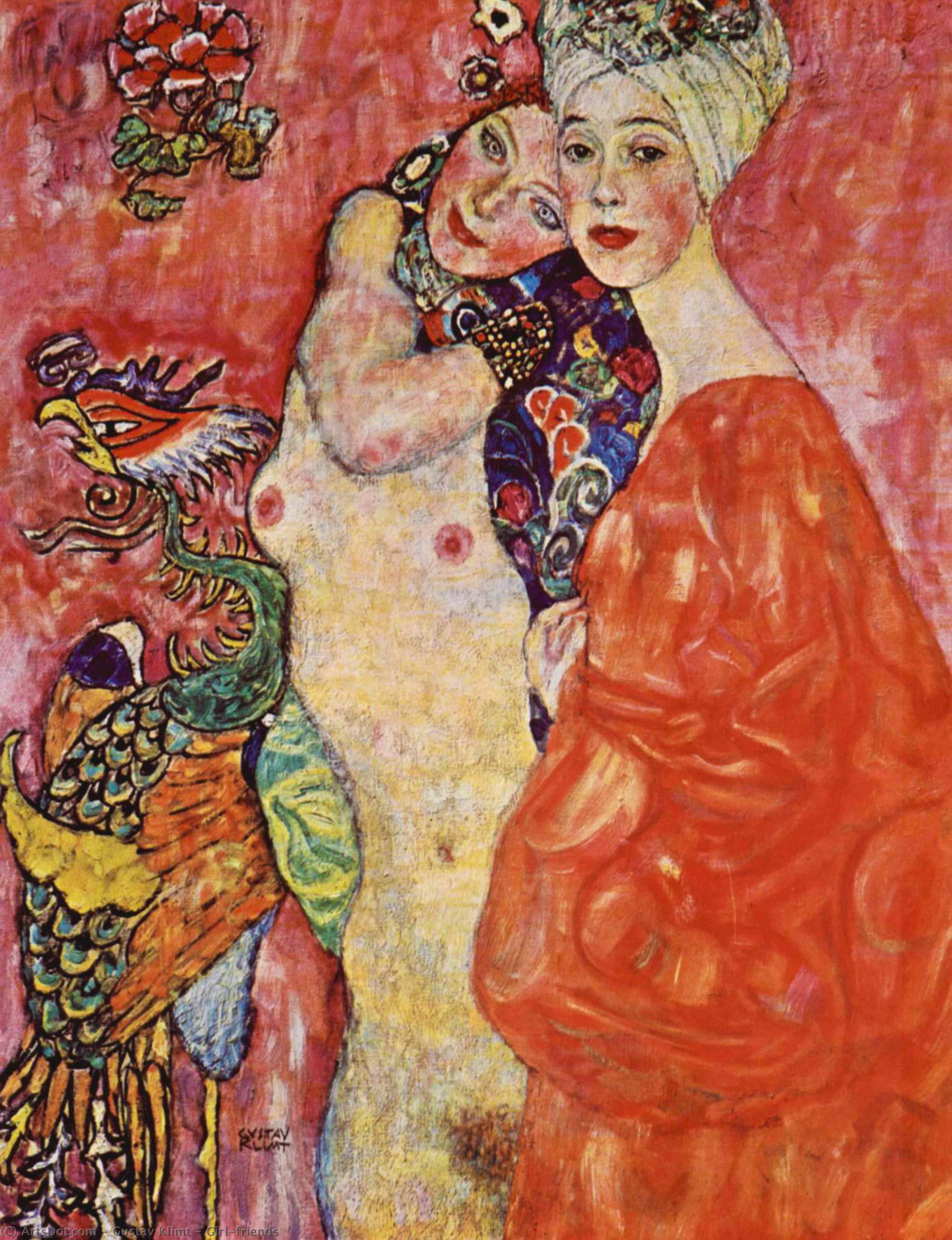 Wikoo.org - موسوعة الفنون الجميلة - اللوحة، العمل الفني Gustav Klimt - Girl-friends
