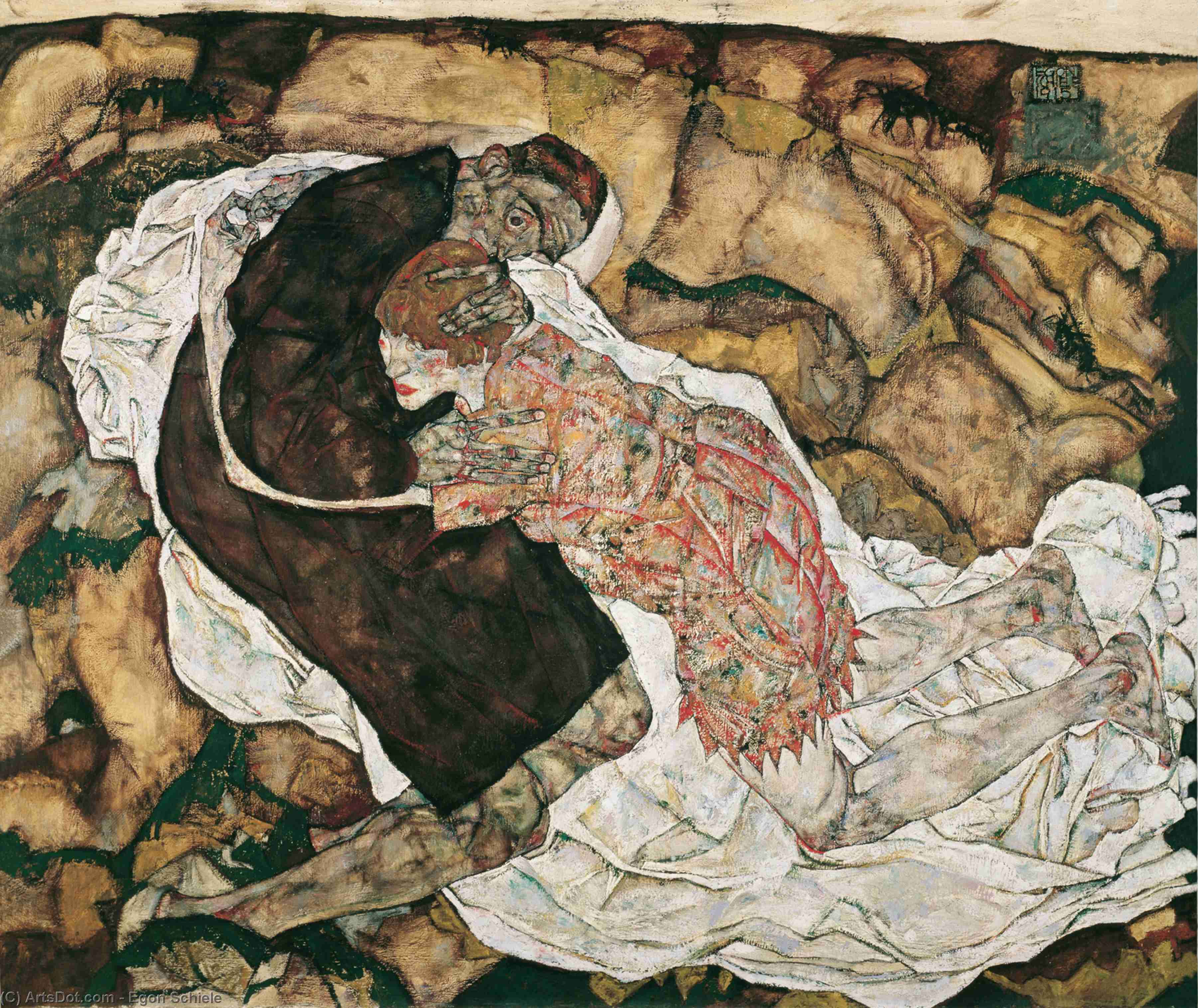 Wikioo.org - The Encyclopedia of Fine Arts - Painting, Artwork by Egon Schiele - Death and the Maiden