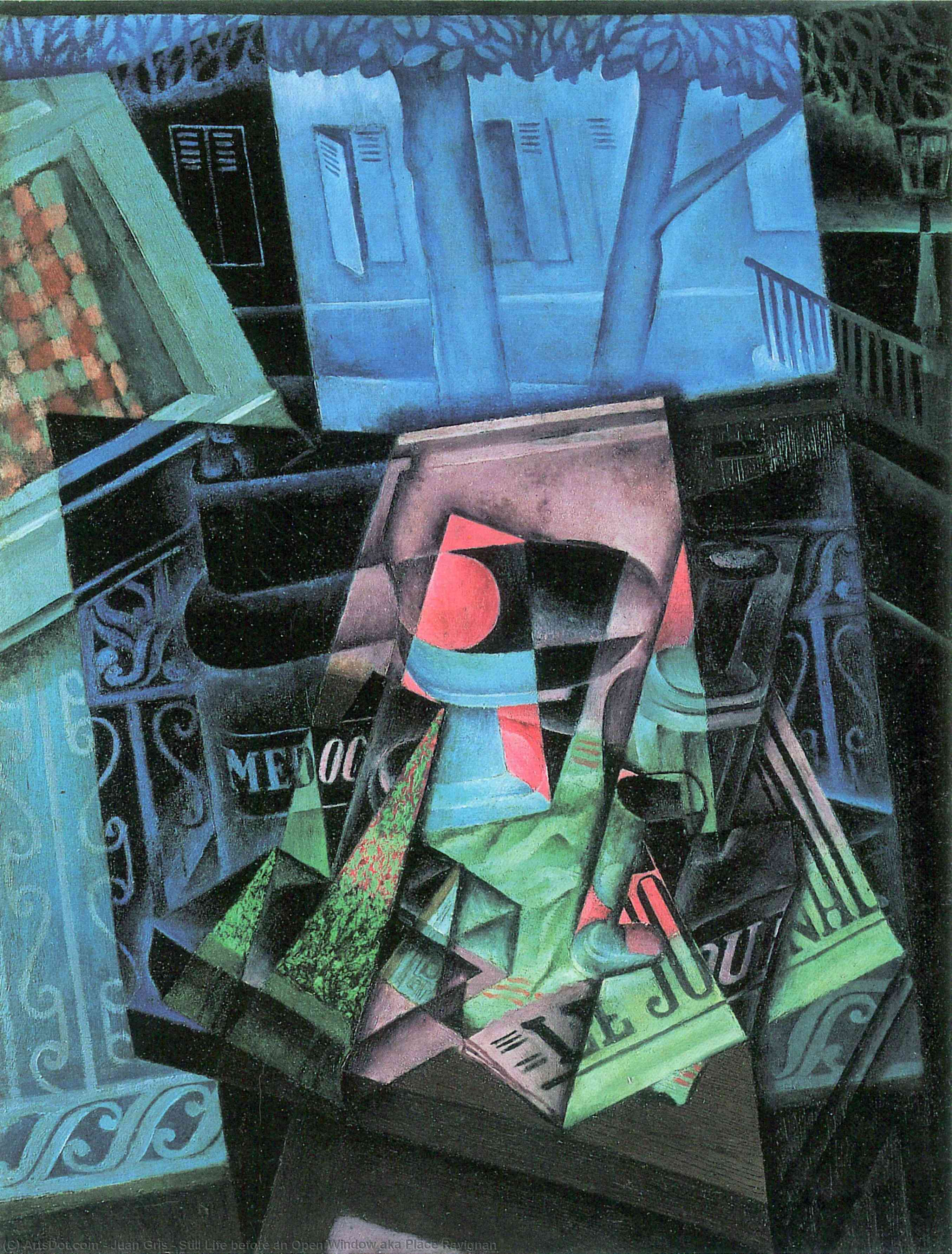 Wikioo.org - The Encyclopedia of Fine Arts - Painting, Artwork by Juan Gris - Still Life before an Open Window aka Place Ravignan