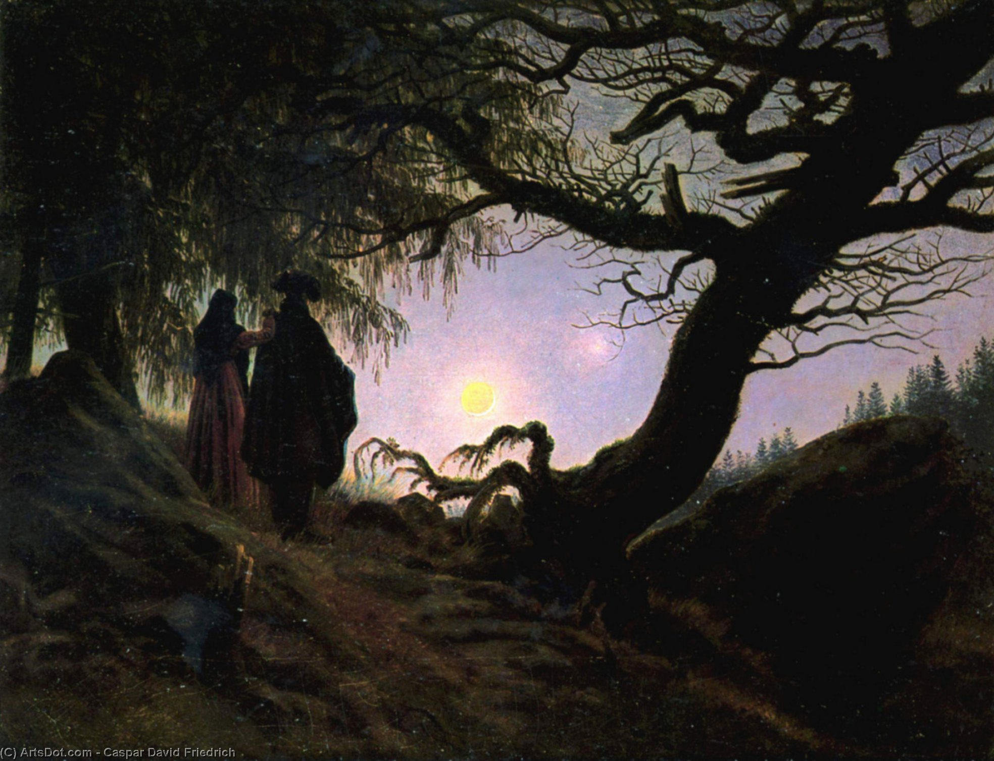 Wikioo.org - The Encyclopedia of Fine Arts - Painting, Artwork by Caspar David Friedrich - Man and Woman Contemplating the Moon