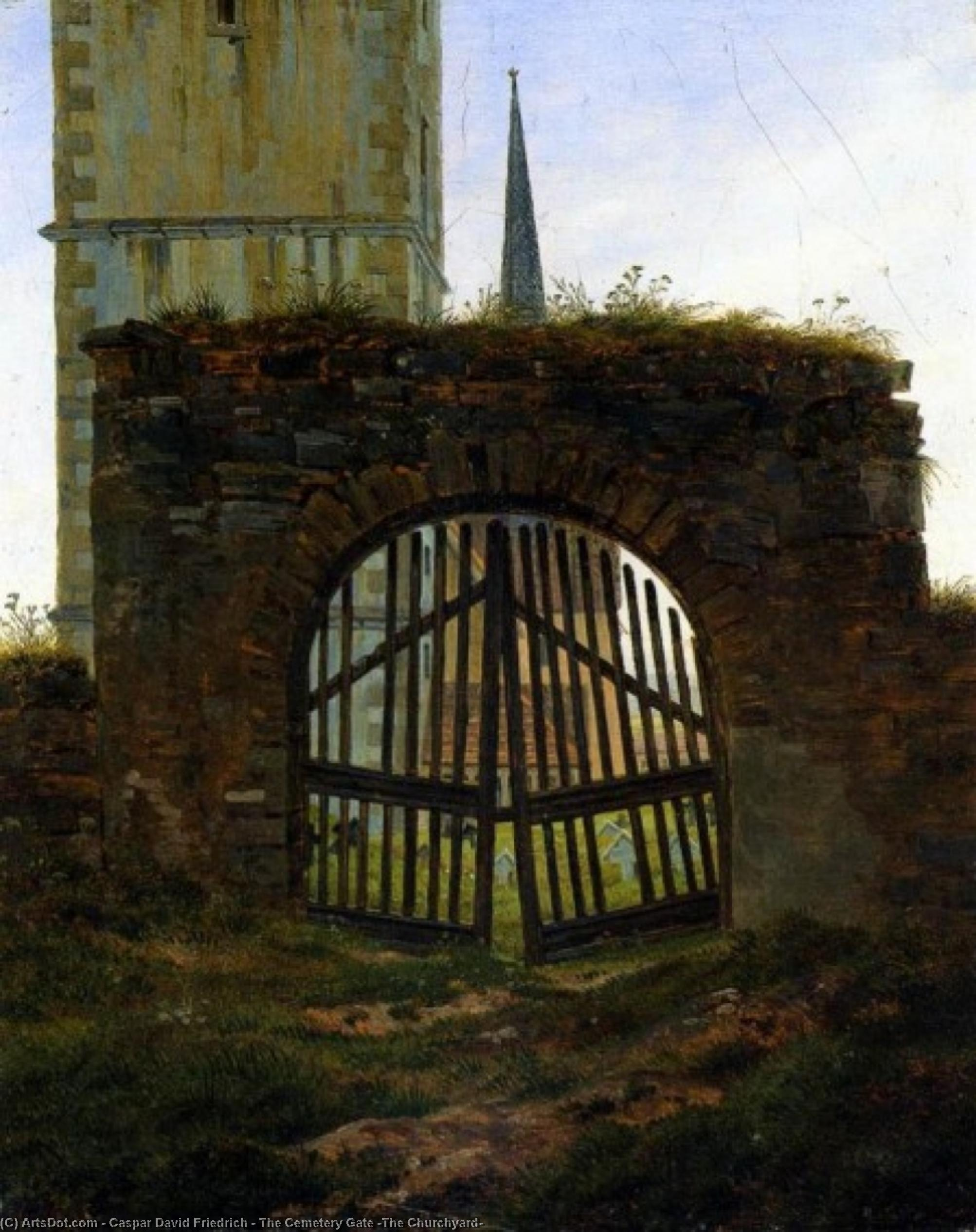 Wikioo.org - The Encyclopedia of Fine Arts - Painting, Artwork by Caspar David Friedrich - The Cemetery Gate (The Churchyard)