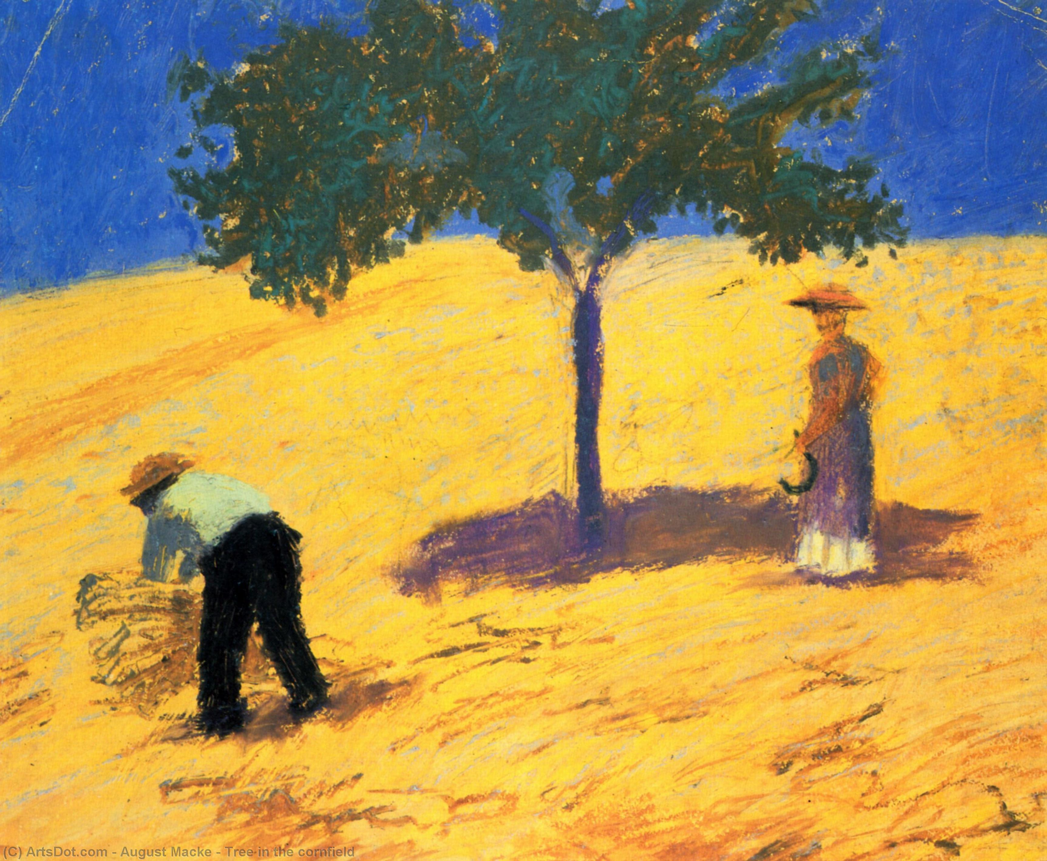 Wikioo.org - The Encyclopedia of Fine Arts - Painting, Artwork by August Macke - Treein the cornfield